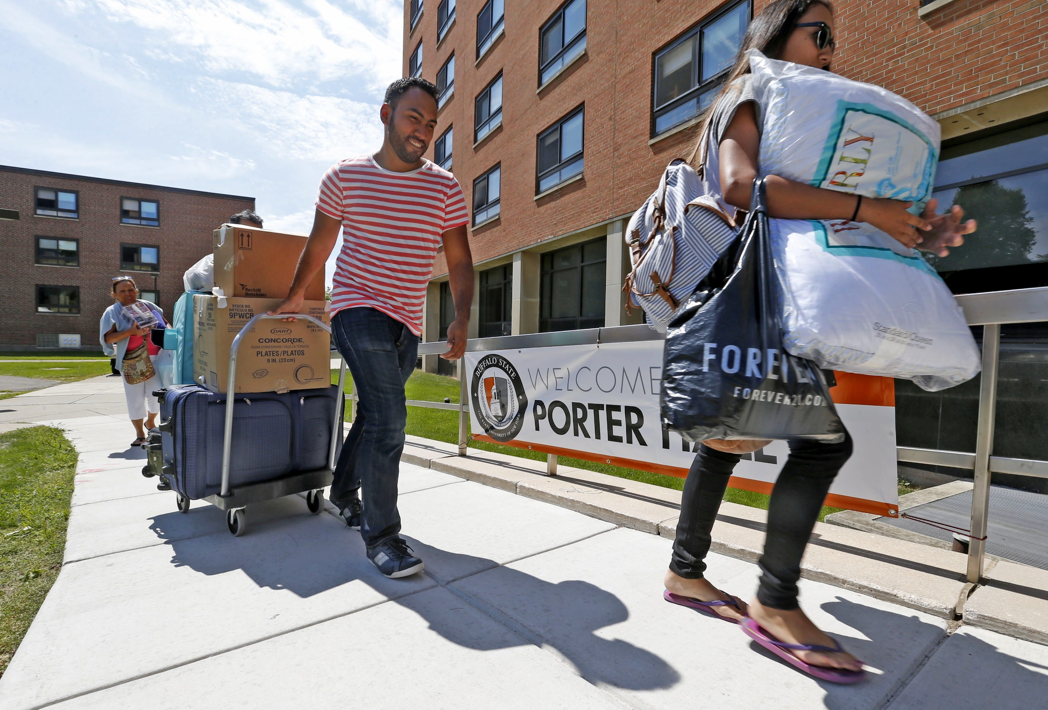 Freshmen moving into Porter Hall at SUNY Buffalo State have found a campus bursting at the seams. Because of the large incoming class, the college has to triple up students in some dorm rooms and has arranged for 200 to live in Canisius College residence halls.