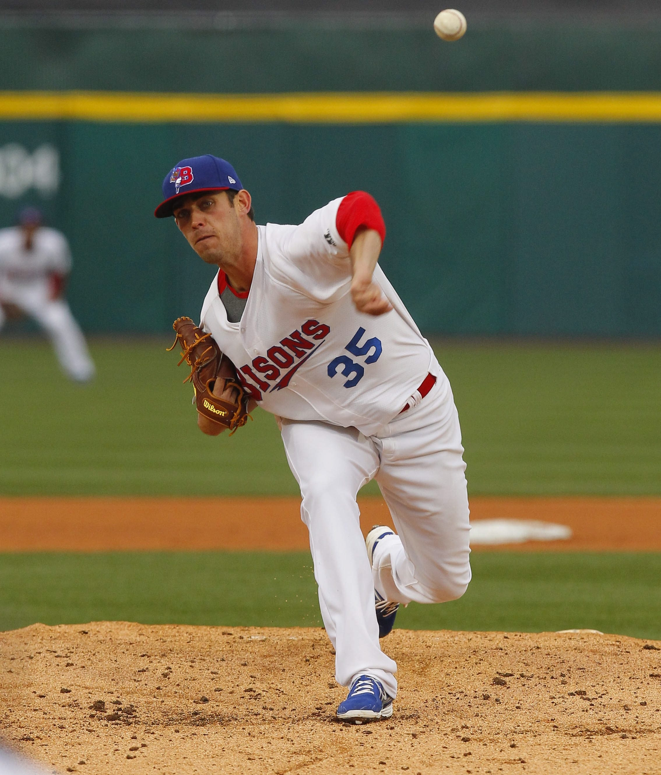 Sean Nolin (35) makes his 16th start of the season for the Bisons this afternoon.