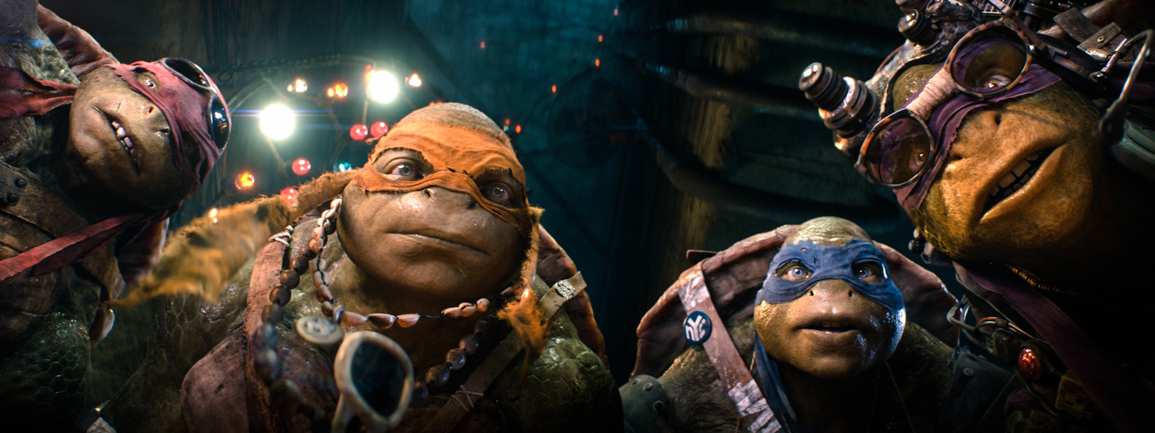 "From left, Raphael, Michelangelo, Leonardo, and Donatello, in a scene from ""Teenage Mutant Ninja Turtles."""
