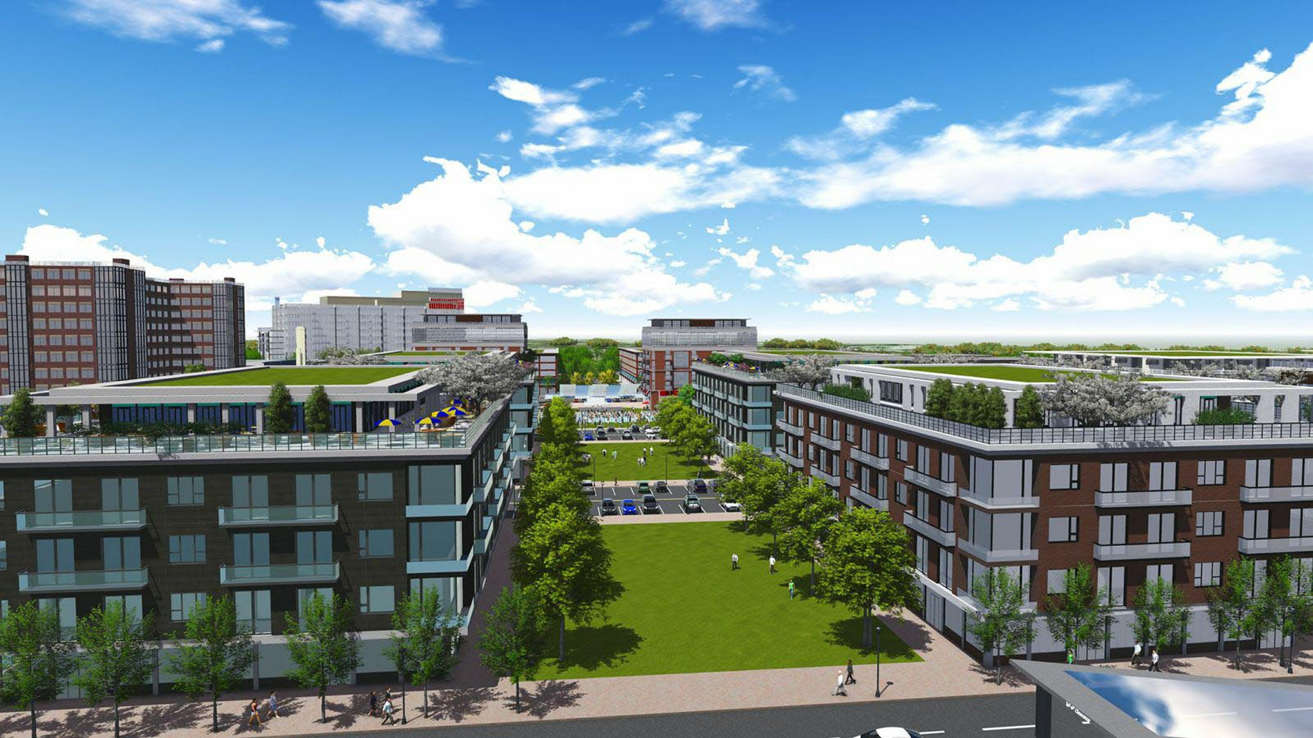 A rendering of the proposed Seneca Place project, which would include two hotels, residential apartments, office buildings, retail shopping, a theater and community facilities atop a vast underground parking garage.