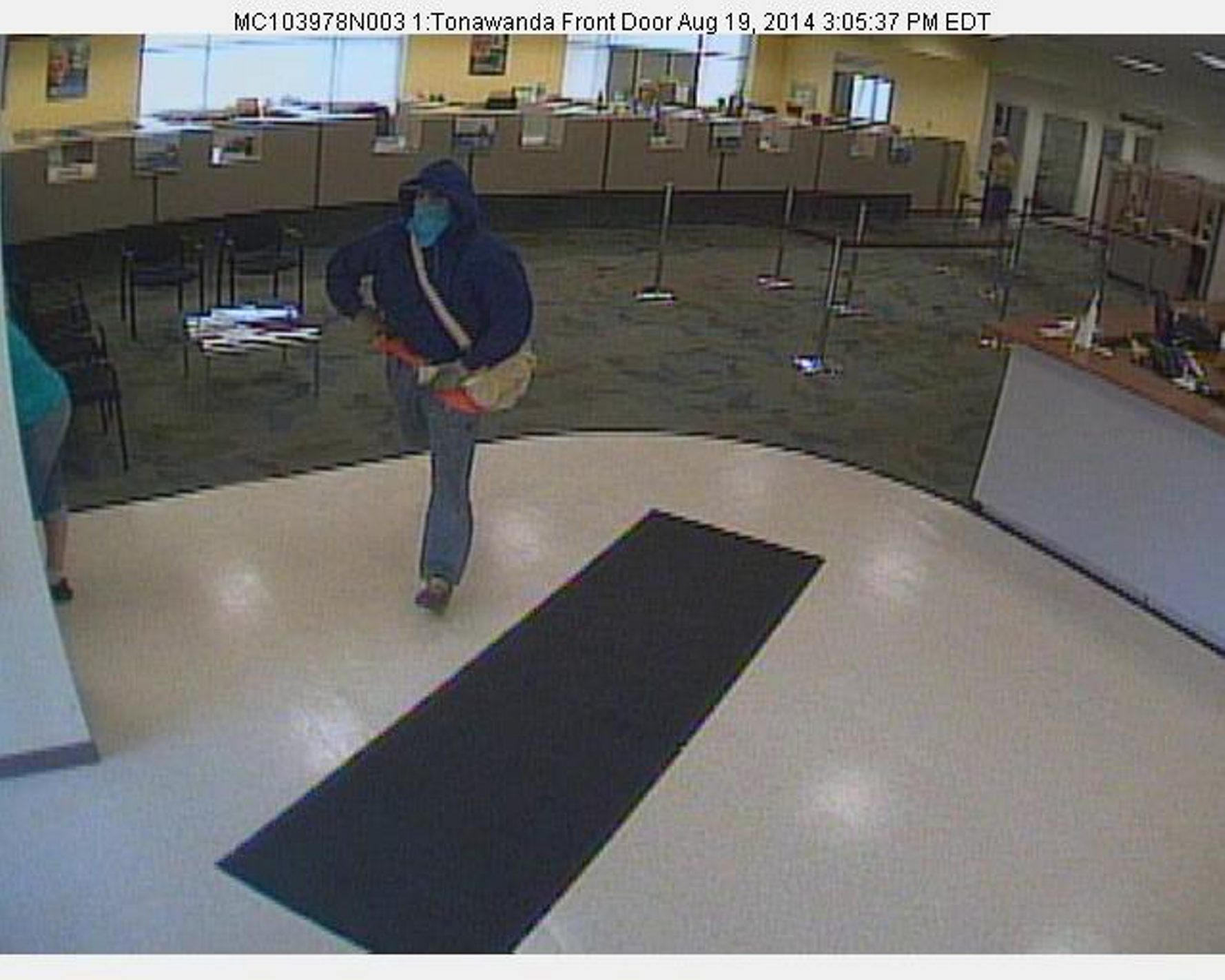 Surveillance photo of suspect in Tuesday's M&T bank robbery in Tonawanda.