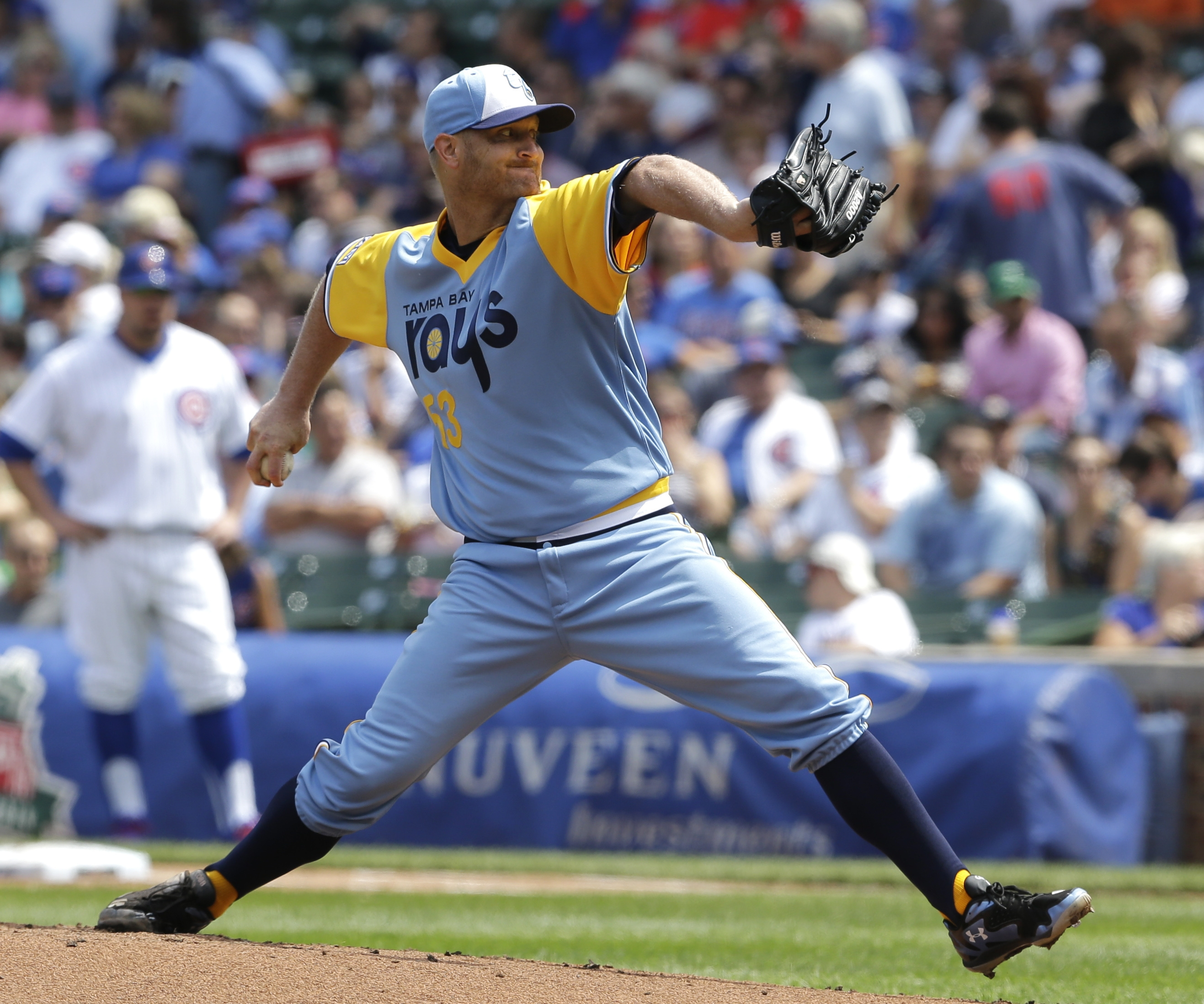 Tampa Bay Rays starter Alex Cobb shows off the throwback uniforms worn last Sunday against the Cubs in Wrigley Field in Chicago. (AP Photo/Nam Y. Huh)