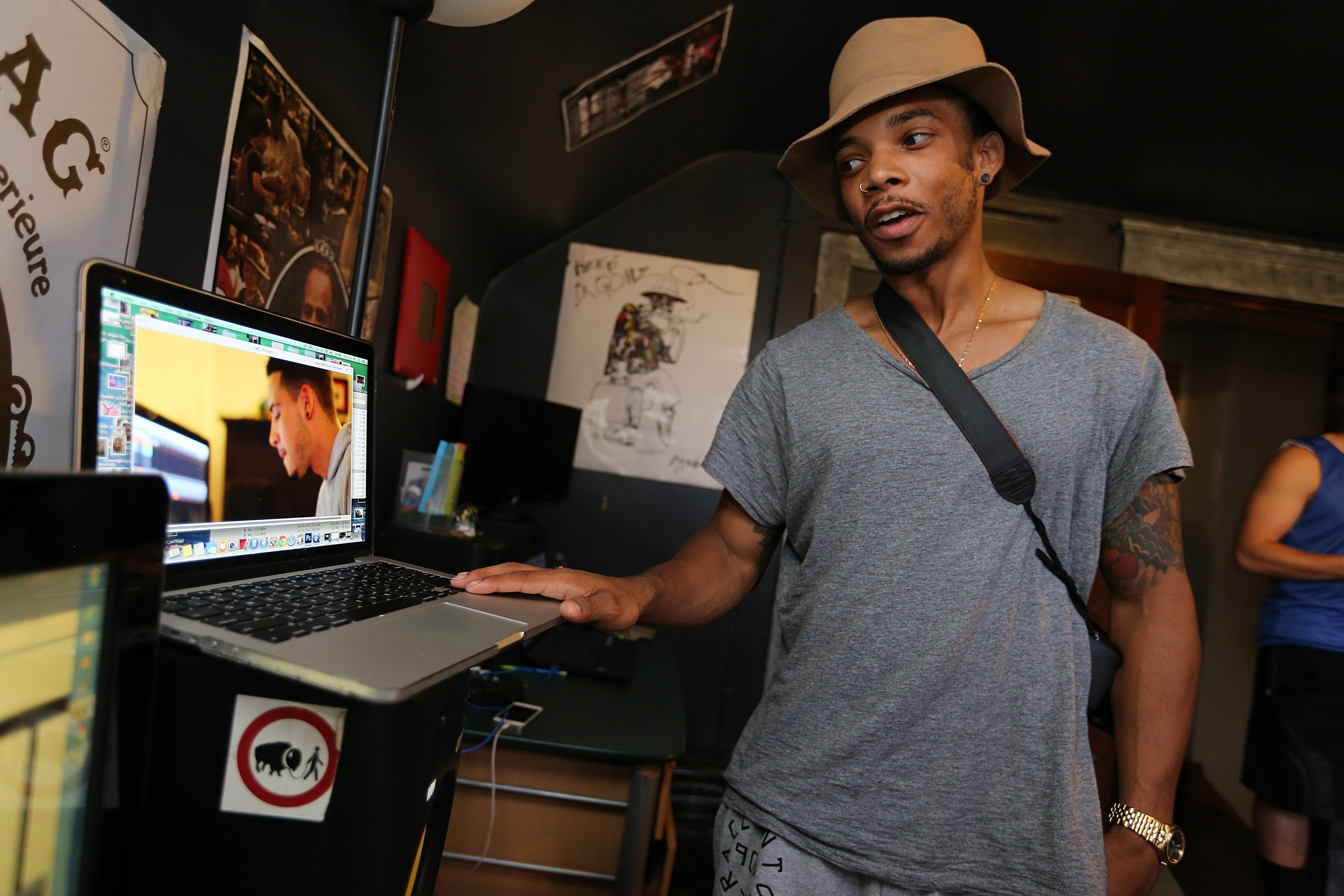 Byron Brown Jr., shown working on a video project at a friend's home in Buffalo late last month, plans to move to Los Angeles.