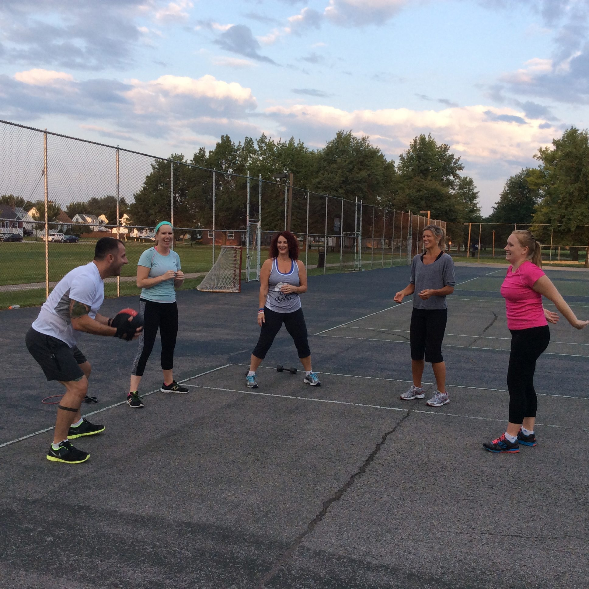 Joining Deanna Giordano, center, at a recent 6 a.m. boot camp are, from left, Kenny Ross, Brittany Sanvidge, Rachel Miller and Casey DeMarco.