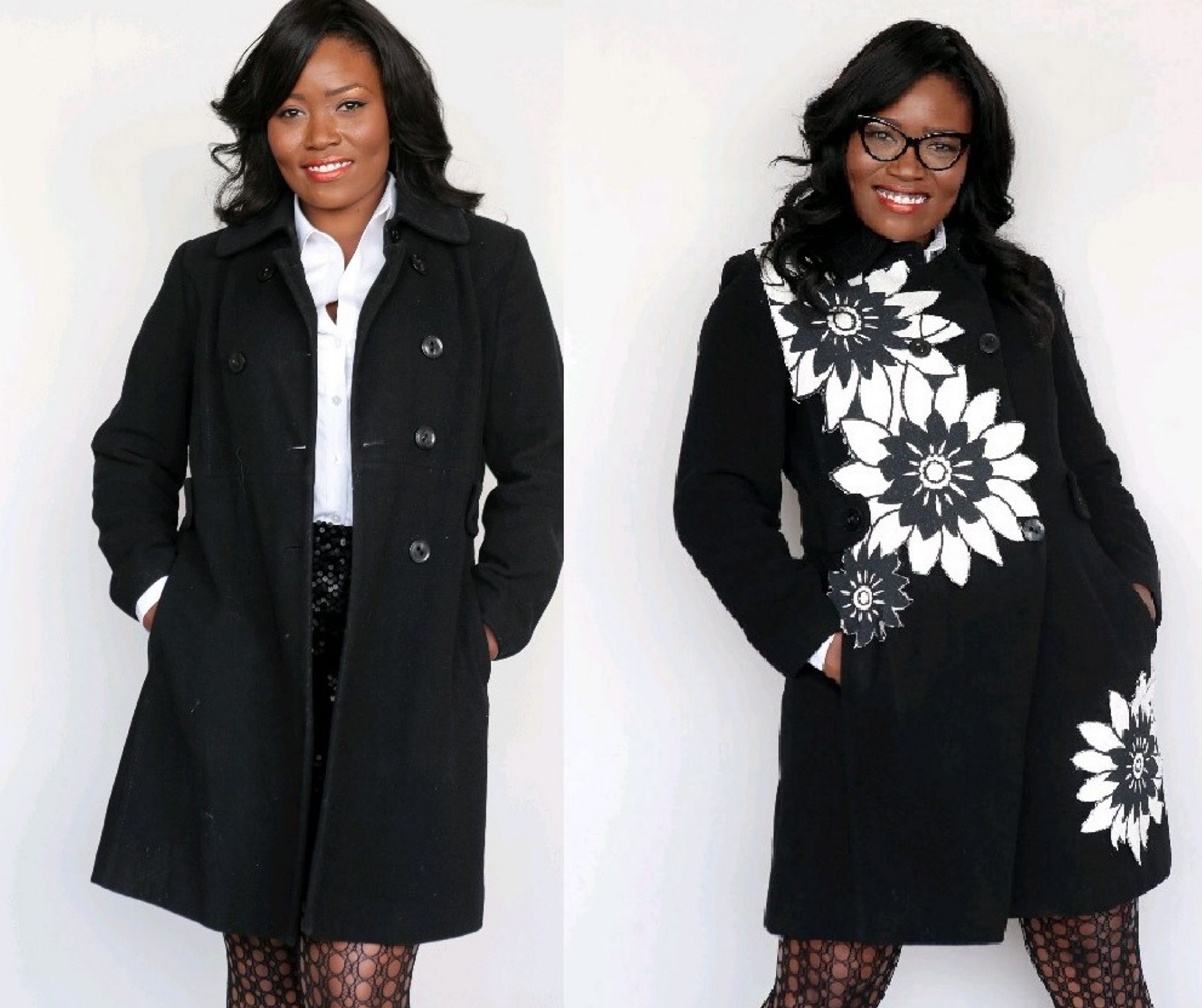 A plain winter coat gets a floral transformation using upholstery fabric. (McClatchy Newspapers)