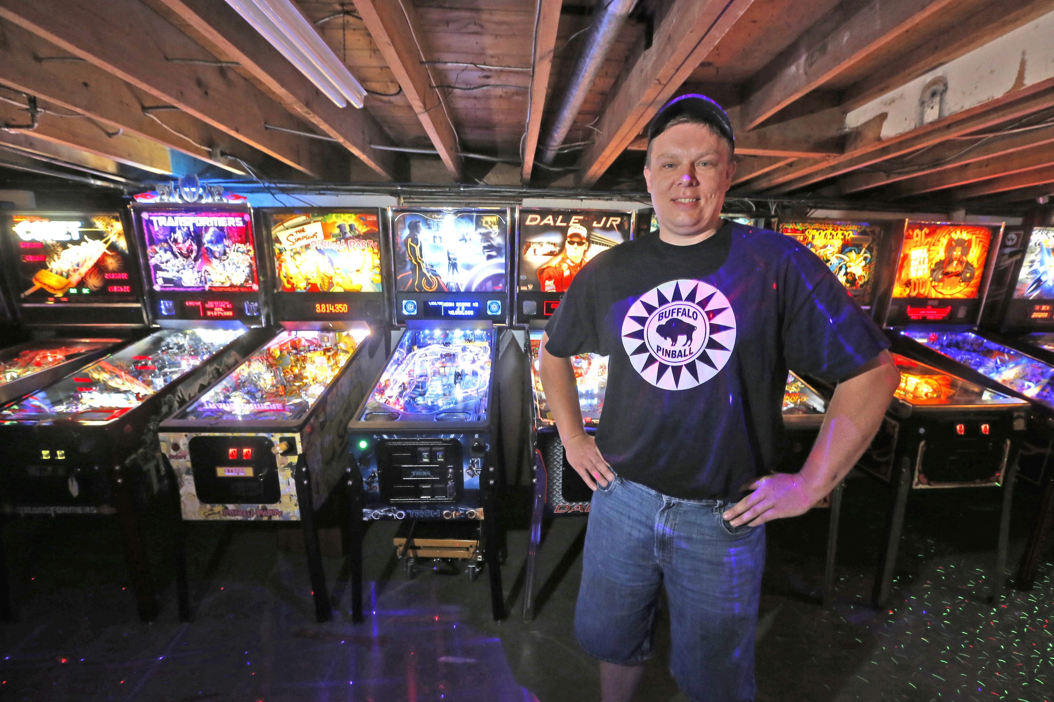 These machines are just a fraction of the pinball collection housed in the Strykersville basement of collector John Barsh.