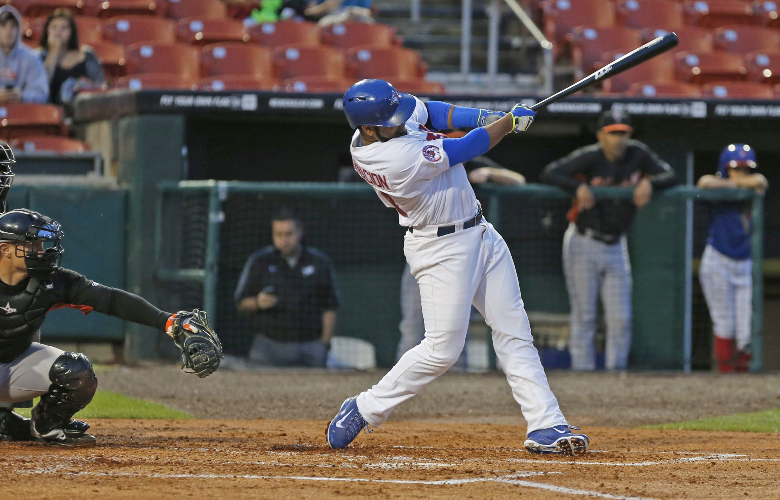 Edwin Encarnacion grand slams in his second time at bat as a Buffalo Bison against Norfolk Tuesday.