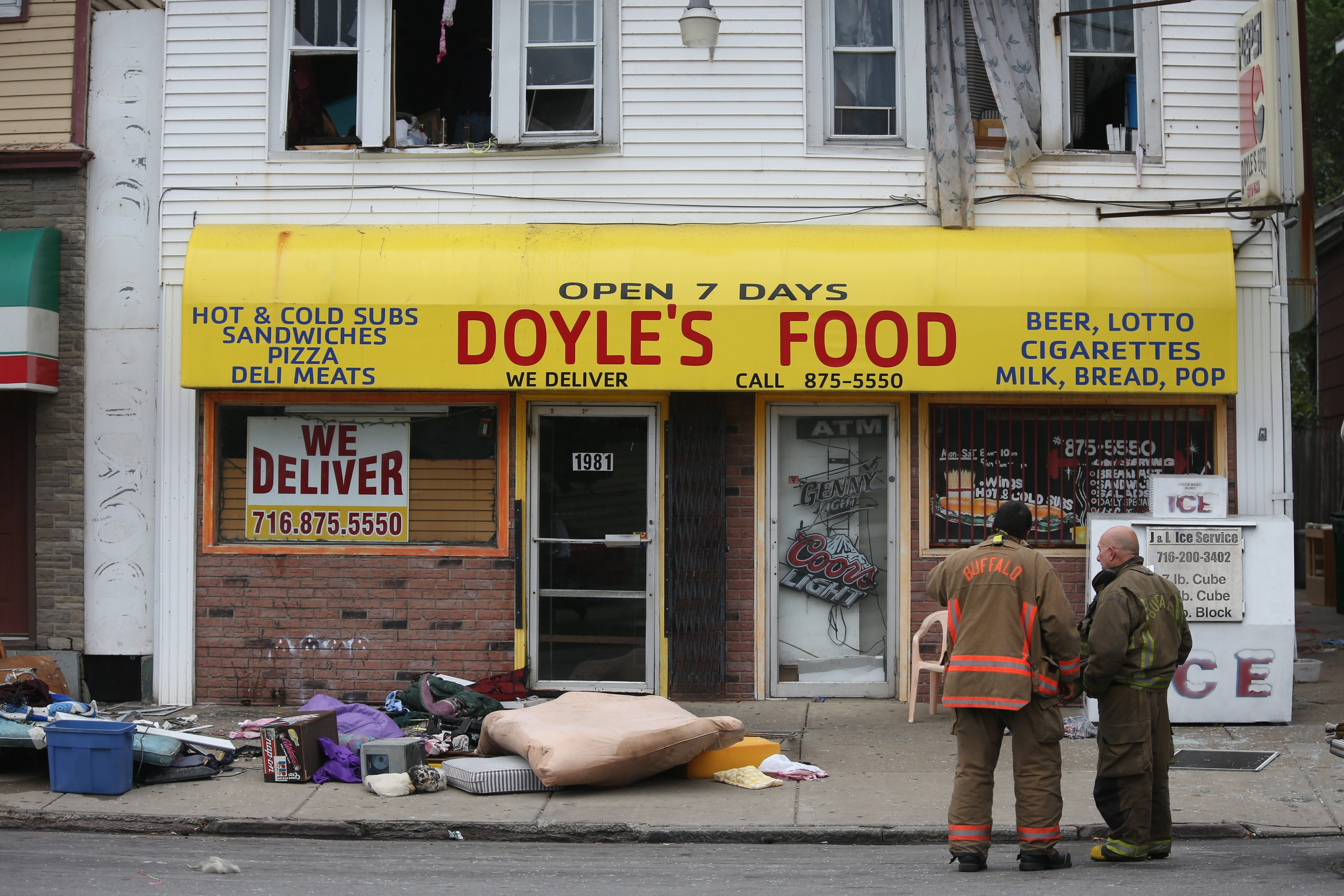 An explosion in the second-floor apartment above Doyle's Food on Monday brought firefighters to the scene.