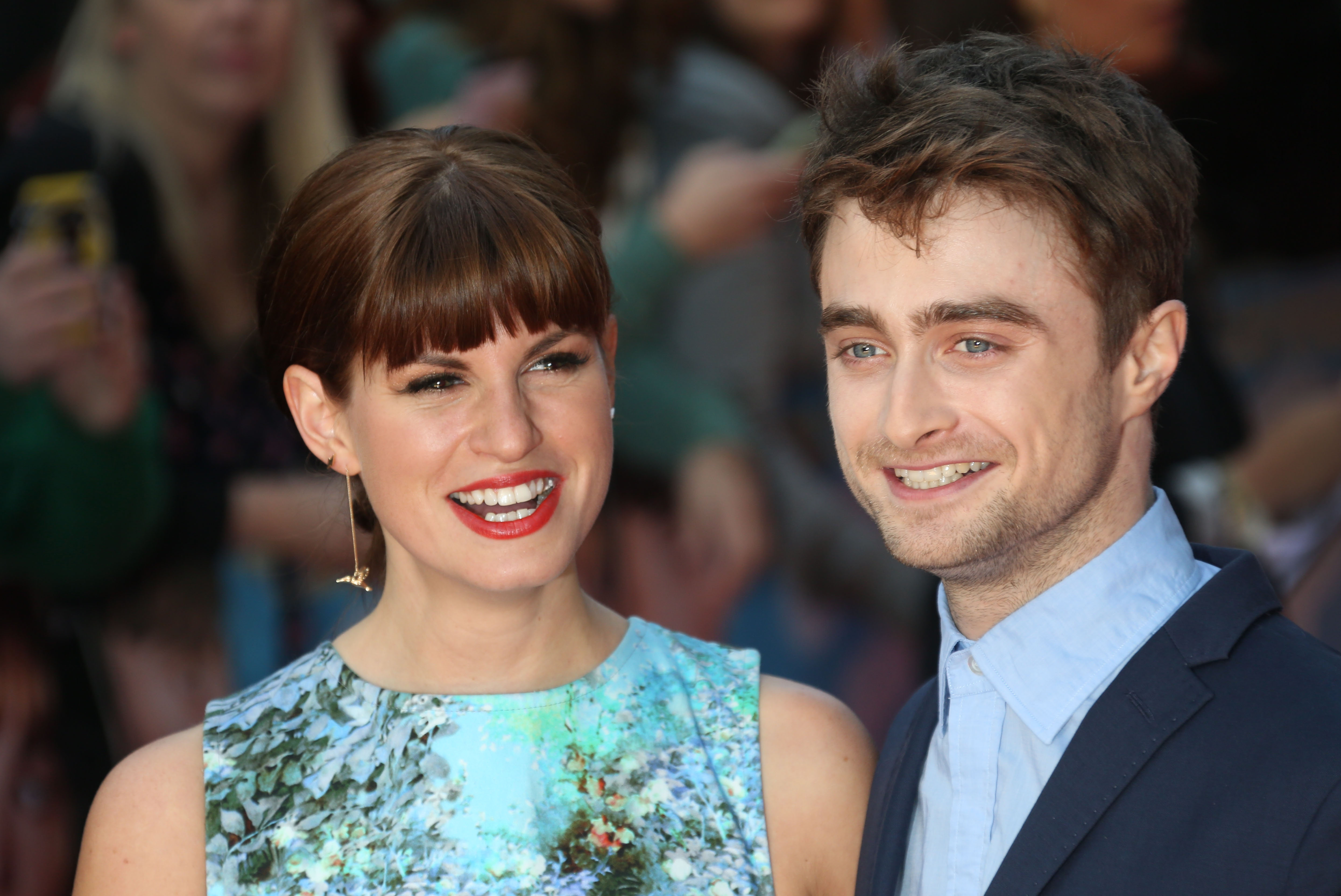 "All smiles on the red carpet: British actors Daniel Radcliffe and Jemima Rooper pose together as they arrive for the U.K. premiere of ""What If"" in London on Tuesday."