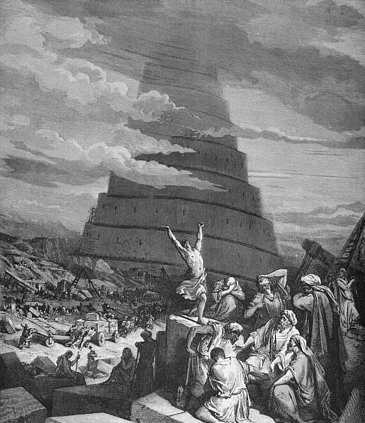 One of many artistic portrayals of the Tower of Babel.