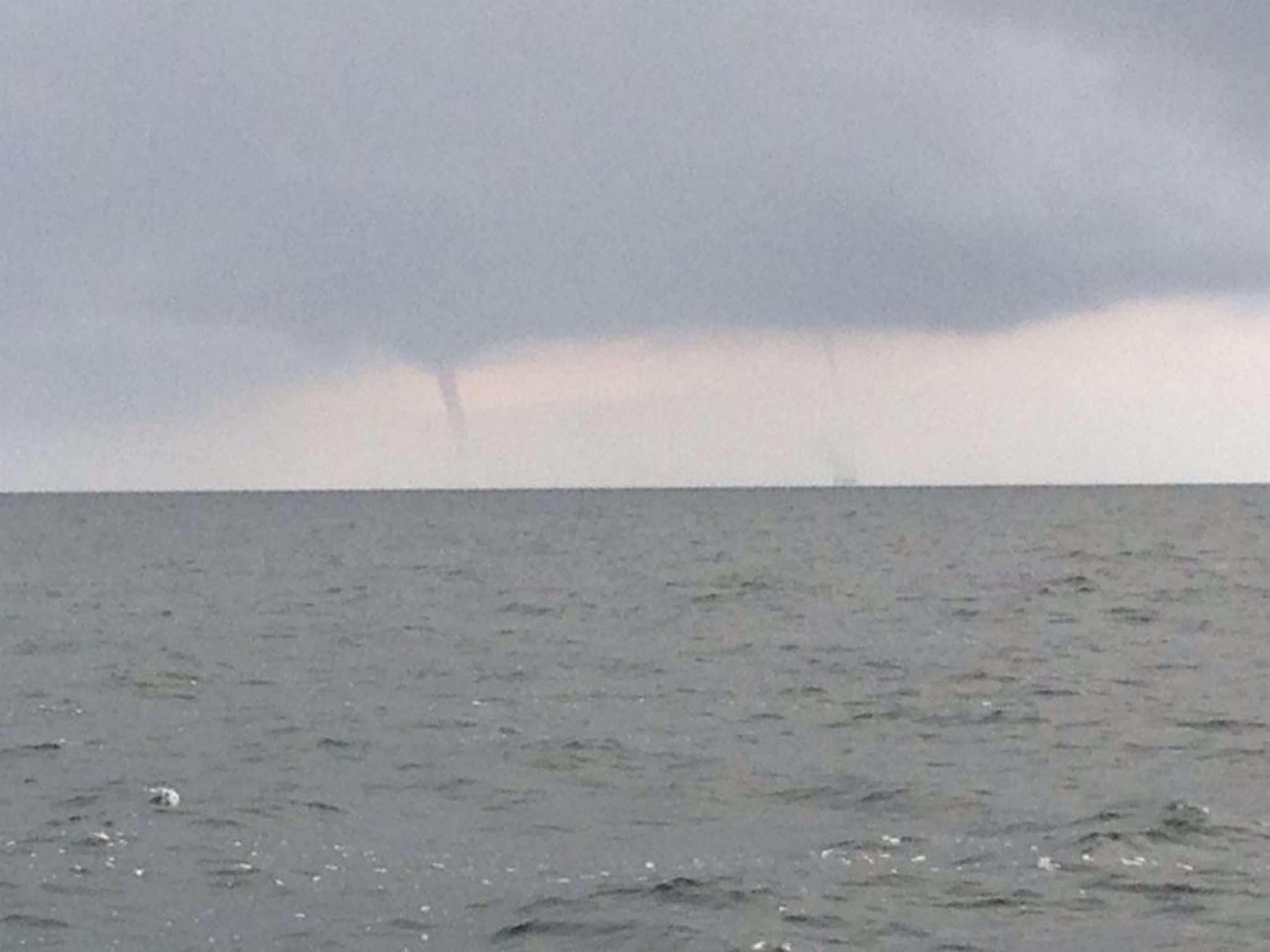 Water spouts on Lake Erie near Dunkirk just before 8 a.m. this morning. (T.J. Pignataro)