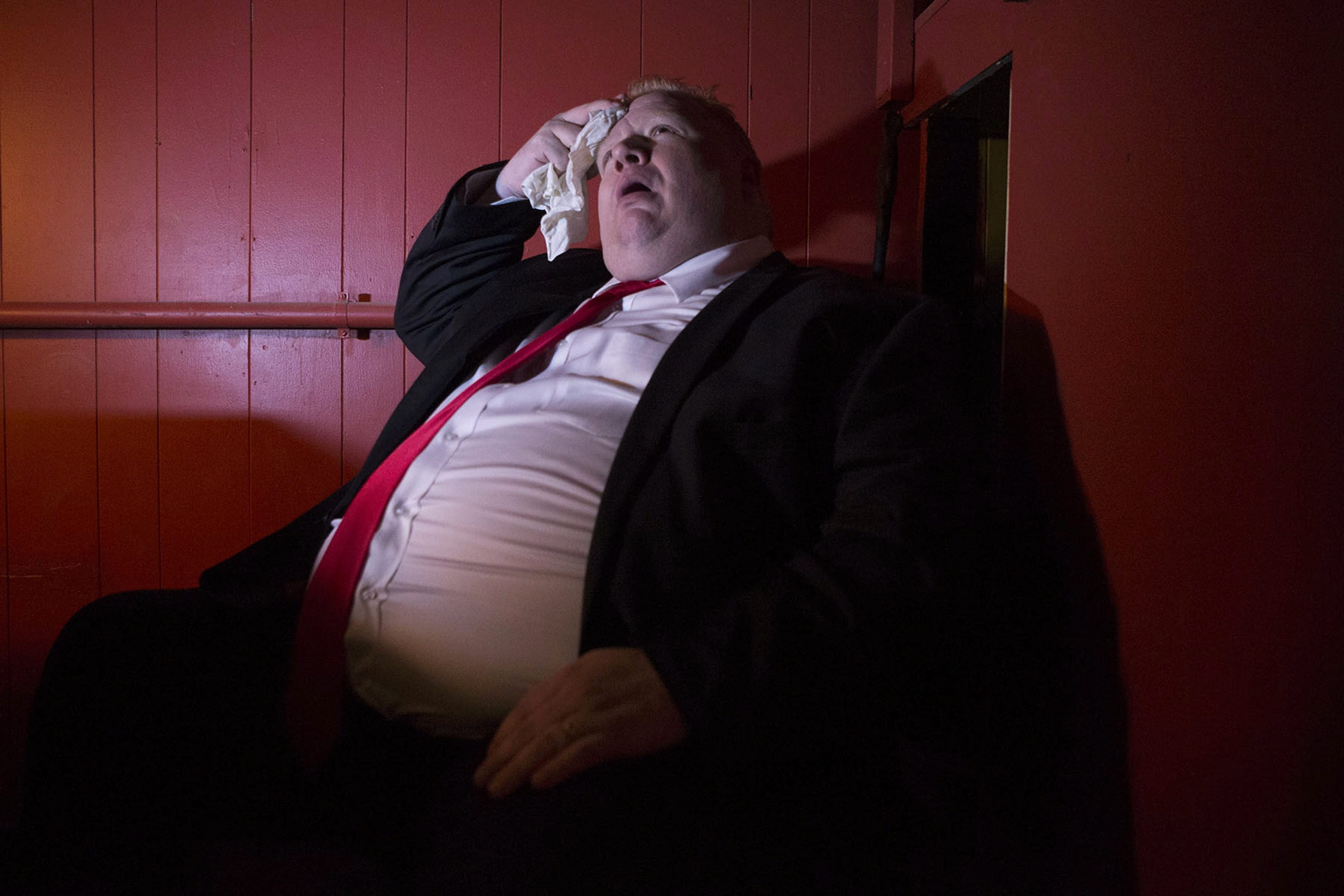 """Actor Sheldon Bergstrom poses for a photo as he prepares for the role of Toronto Mayor Rob Ford in the upcoming musical """"Rob Ford the Musical: Birth of a Ford Nation."""""""
