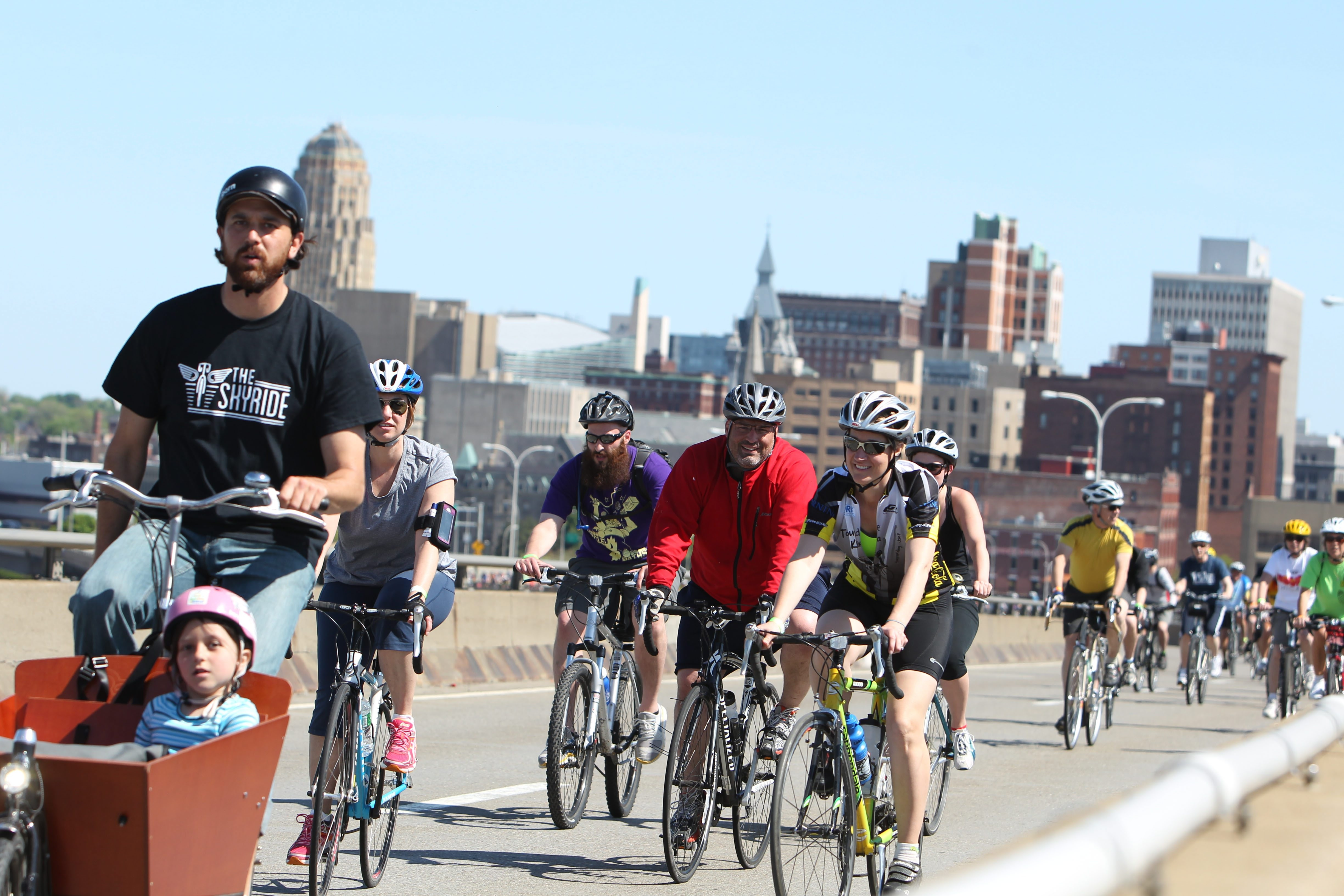 Justin Booth led about 750 bicyclists in GObike Buffalo's first Skyride,  a tour of local historic locations, in May.