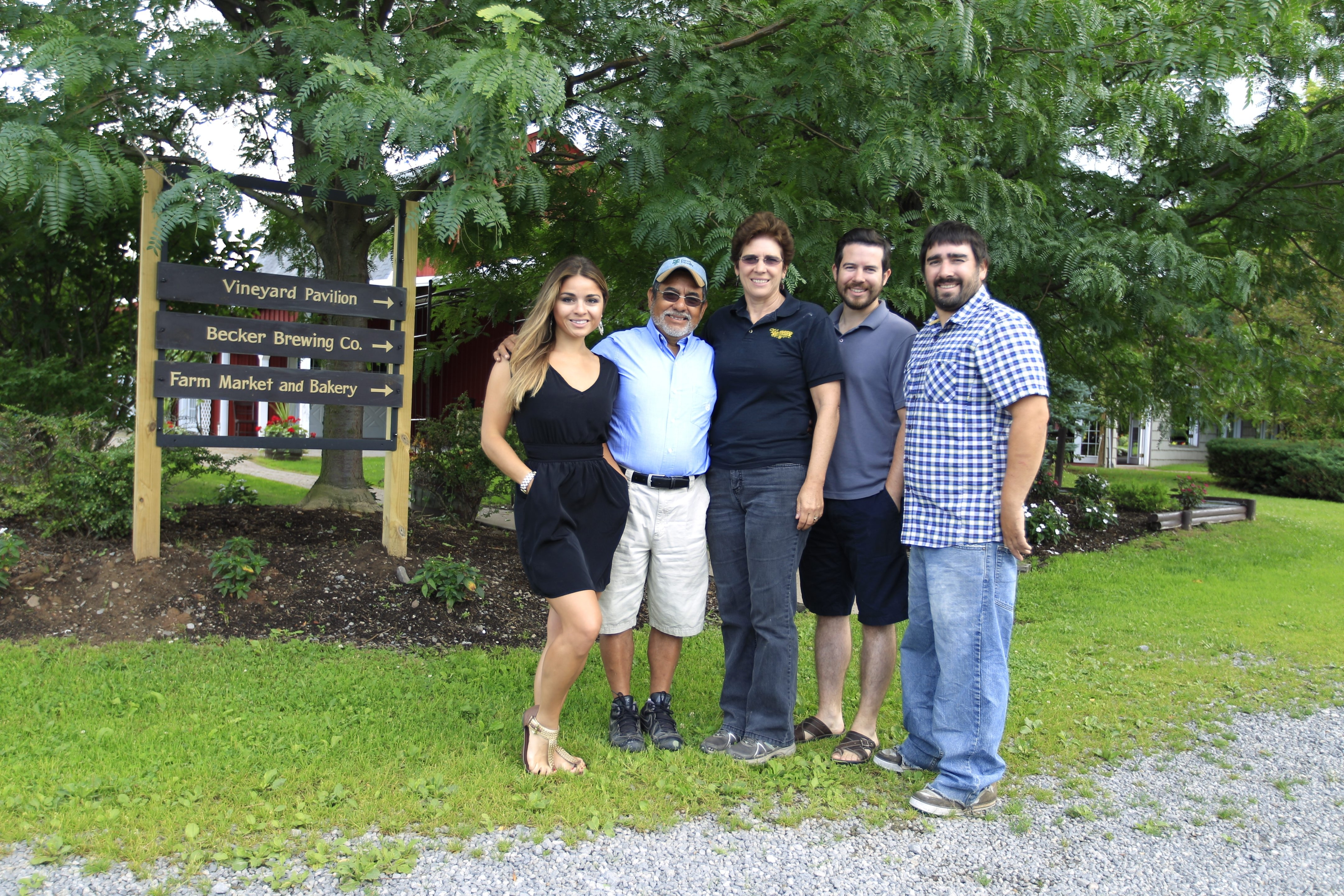 Awaiting next Sunday's milestone event at their farm and winery in Gasport, the Vizcarras – from left, Amanda, Oscar Sr., Melinda, Andres and Oscar Jr. – share passion and pride in an ever-evolving labor of love that has spanned five generations.