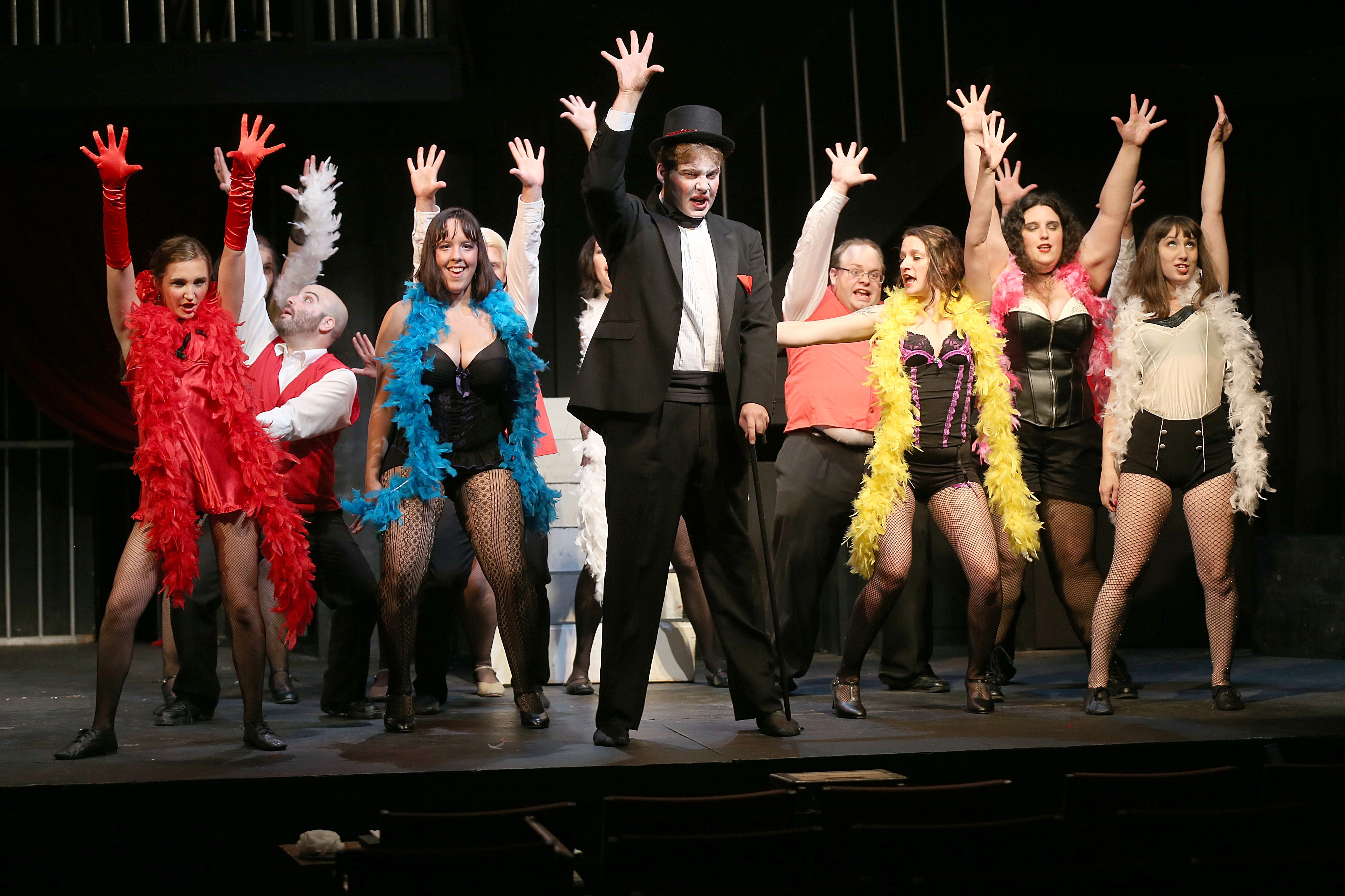 """The cast runs through a number during dress rehearsal for """"Cabaret"""" in Ghostlight Theatre in North Tonawanda. The musical begins its run Thursday."""