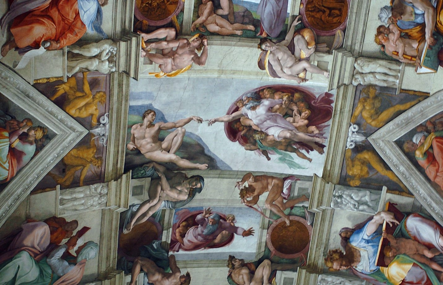 Miles J. Unger tells the story of Michelangelo through six of his greatest masterpieces including the ceiling of the Sistine Chapel, a part of which is shown above.