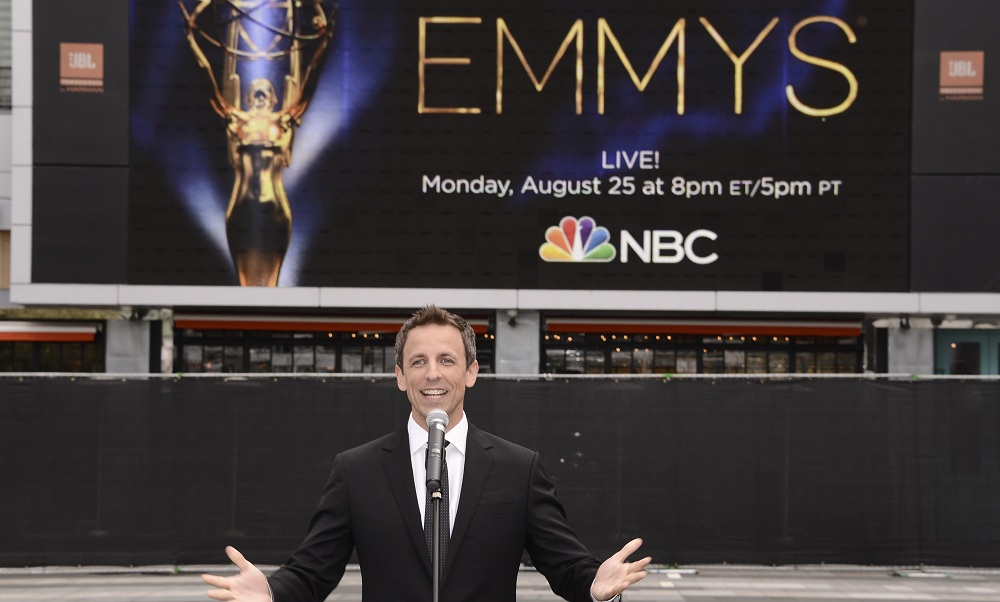 Emmy Awards host Seth Meyers speaks at the press preview day and red carpet roll-out. (Associated Press)