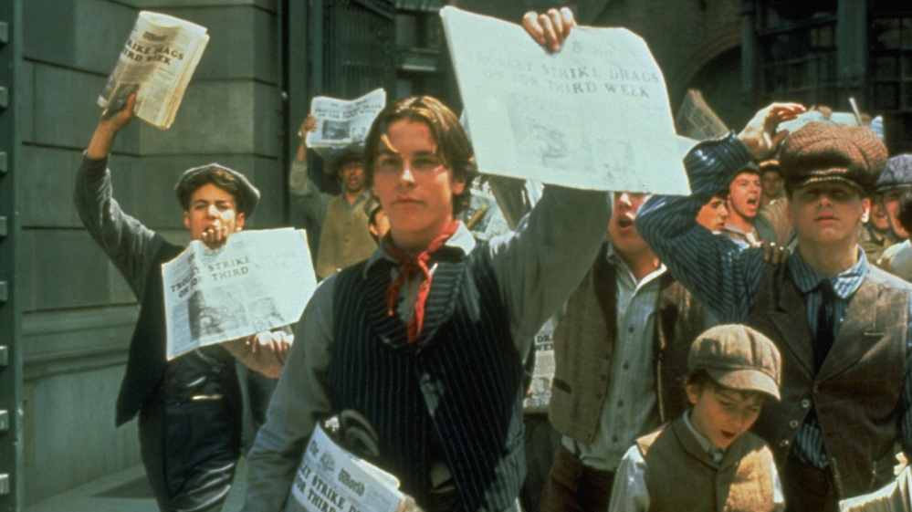 """A youthful Christian Bale starred in the 1991 film, """"Newsies,"""" showing Aug. 19 in the Historic Palace Theatre in Lockport."""