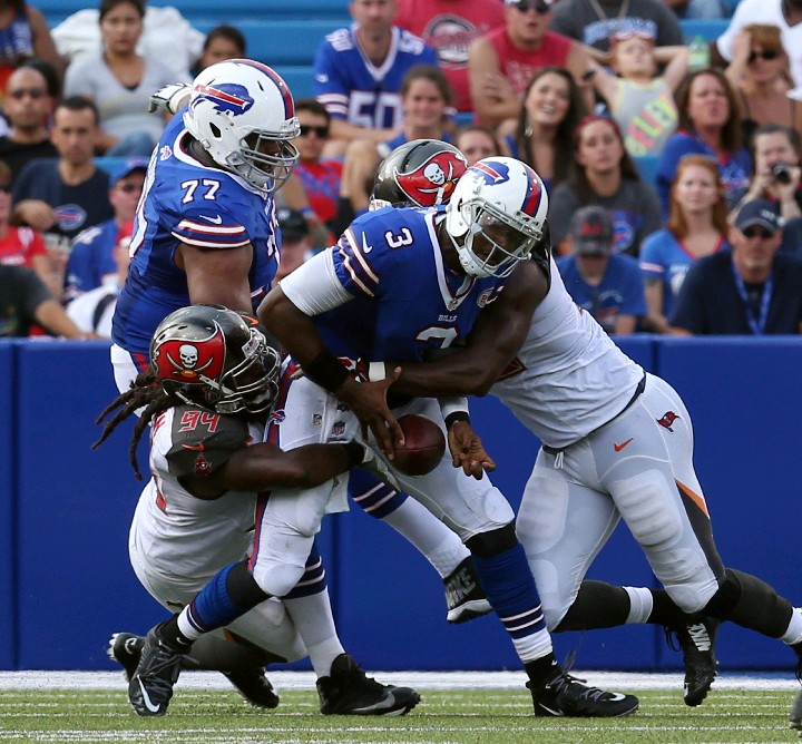 EJ Manuel fumbles during the second quarter. Tampa Bay returned the fumble for a TD during its 27-14 victory. (James P. McCoy/Buffalo News)