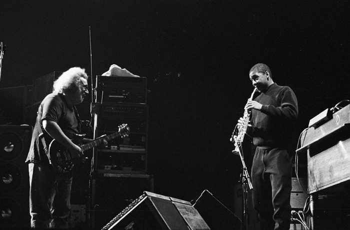 """Jerry Garcia (left) and Branford Marsalis perform together on the Grateful Dead's new """"Wake Up To Find Out"""" 3-CD set."""