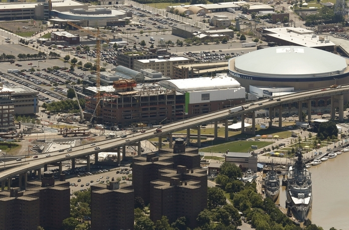 HarborCenter, First Niagara Center, the Skyway, Marine Drive Apartments and the Buffalo River. (Derek Gee/News file photo)