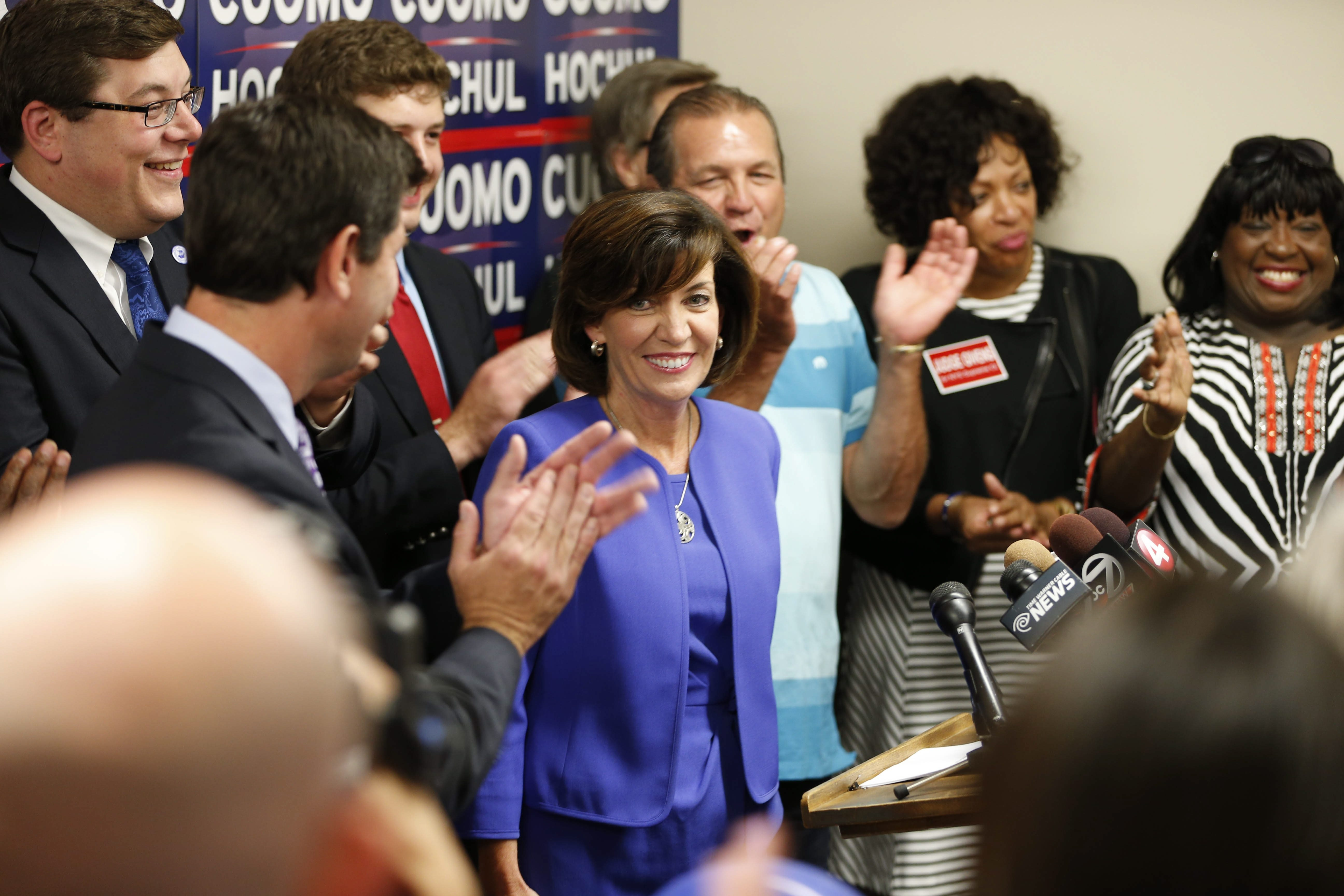 Kathy Hochul addresses supporters at Democratic Headquarters in downtown Buffalo after her primary election victory Tuesday over Tim Wu for the lieutenant governor spot with Gov. Andrew M. Cuomo.