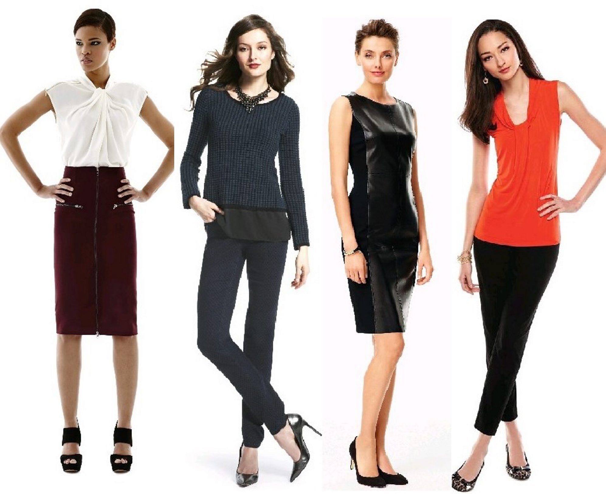 Key wardrobe pieces every woman should have in her closet include, from left: pencil skirt (Worthington at J.C. Penney); a pair of jeans (Style & Co. at Macy's); little black dress (Talbots); and black dress pants (Dana Buchman at Kohl's.)