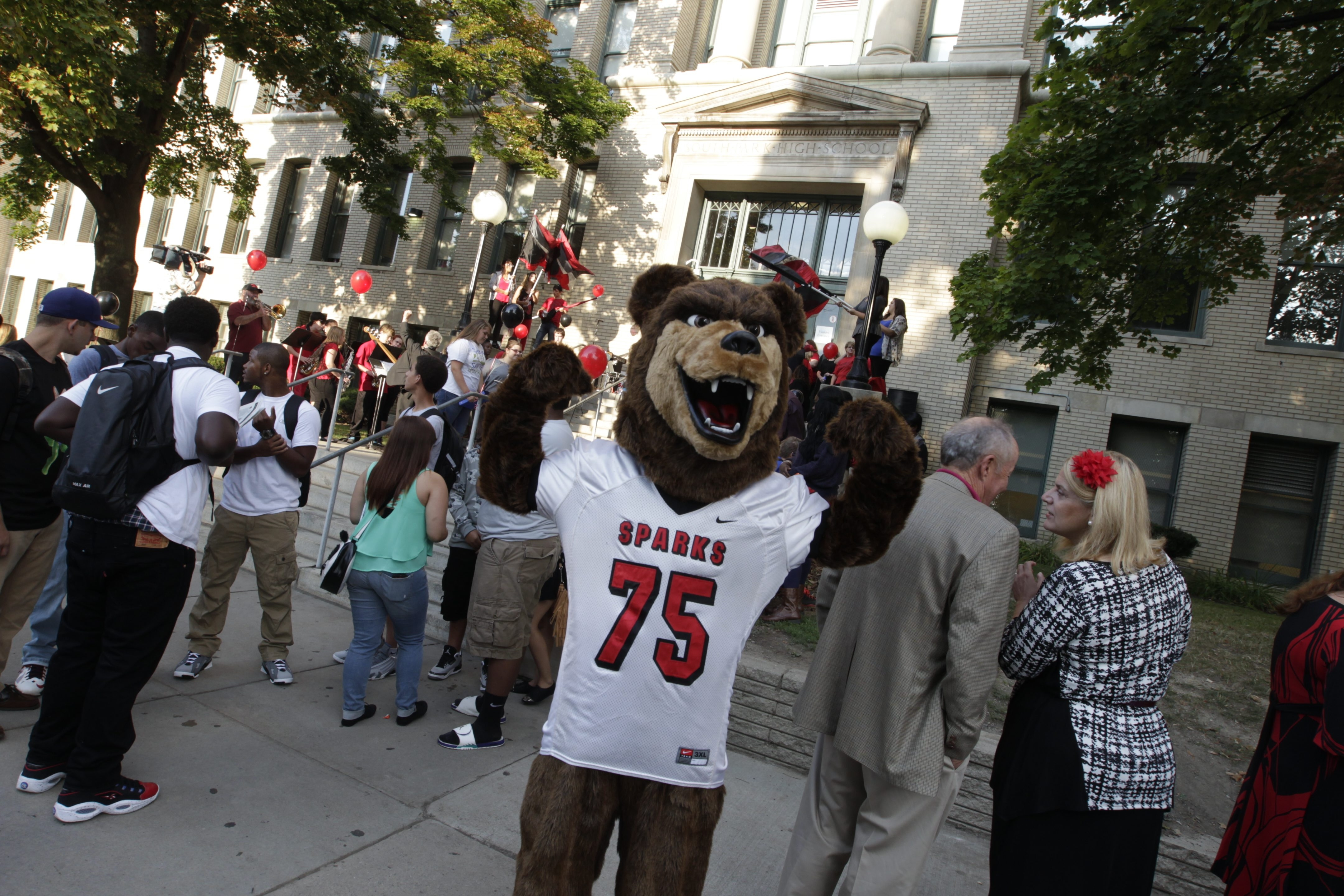 Students, teachers, alumni and mascot Sparks the Bear gathered for the first day of school Thursday at South Park High School, which is celebrating its 100th anniversary.