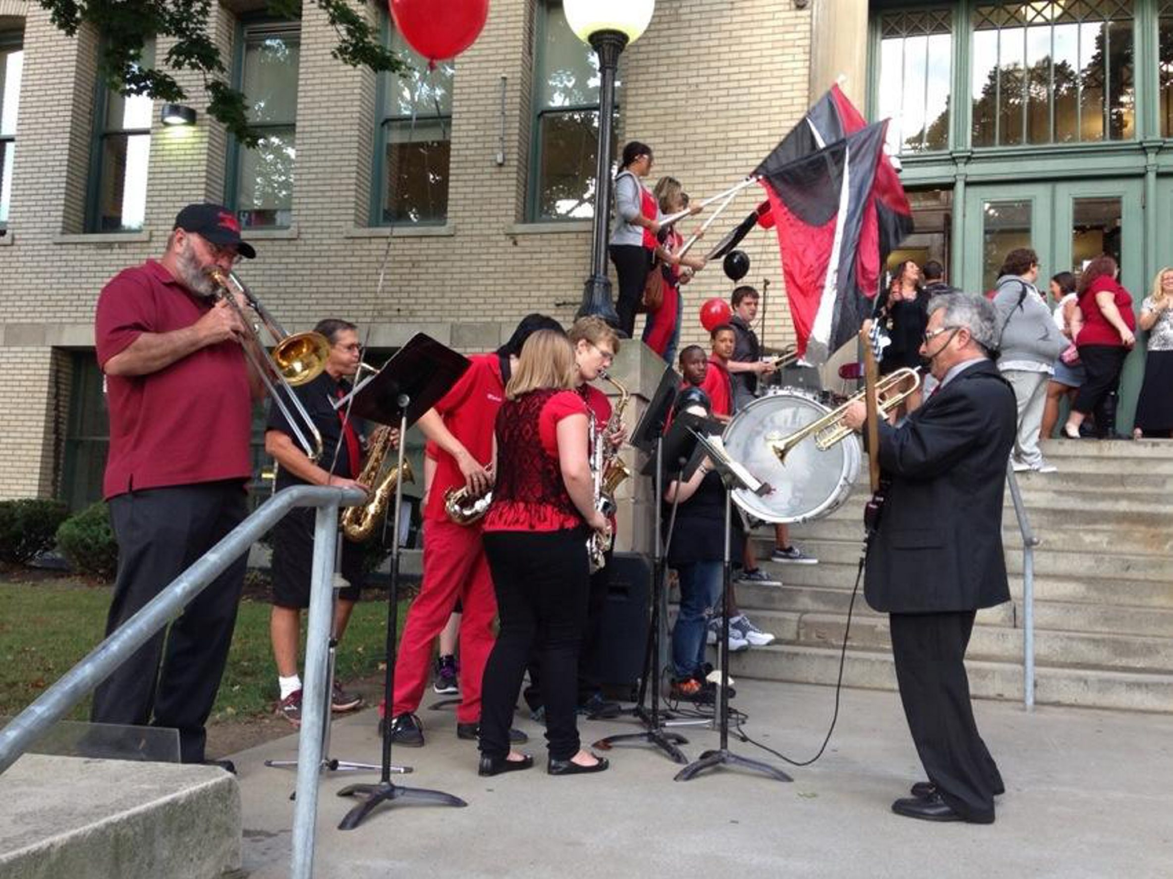 The South Park High School pep band greeted students on the first day of school this morning. The school is celebrating its 100th anniversary this year. (John Hickey/Buffalo News)