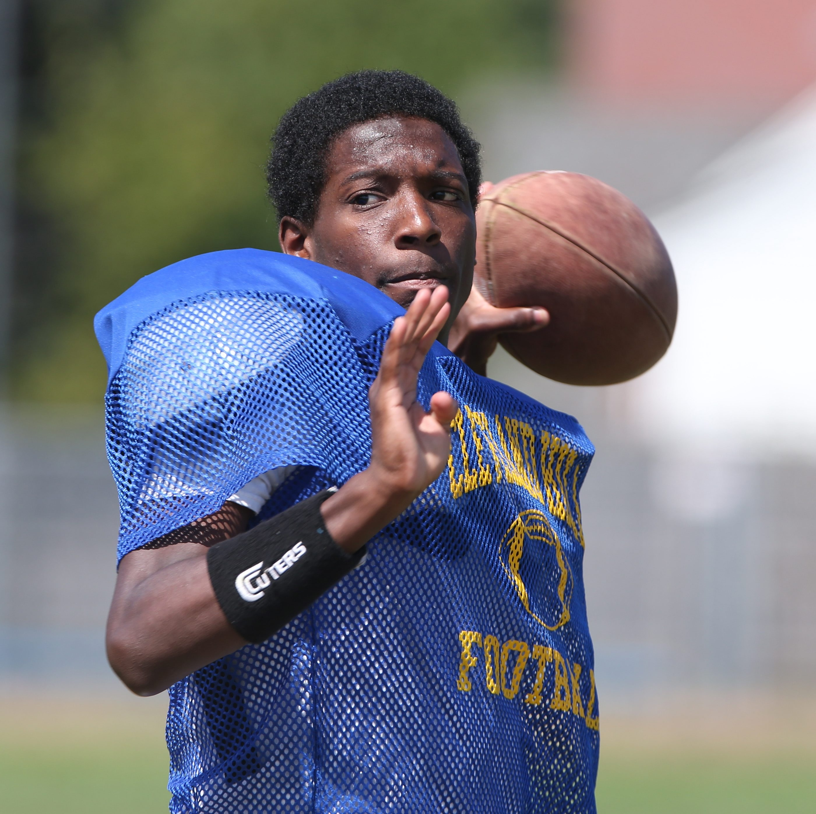 Anthony Sullivan throws a pass in practice for Cleveland Hill.