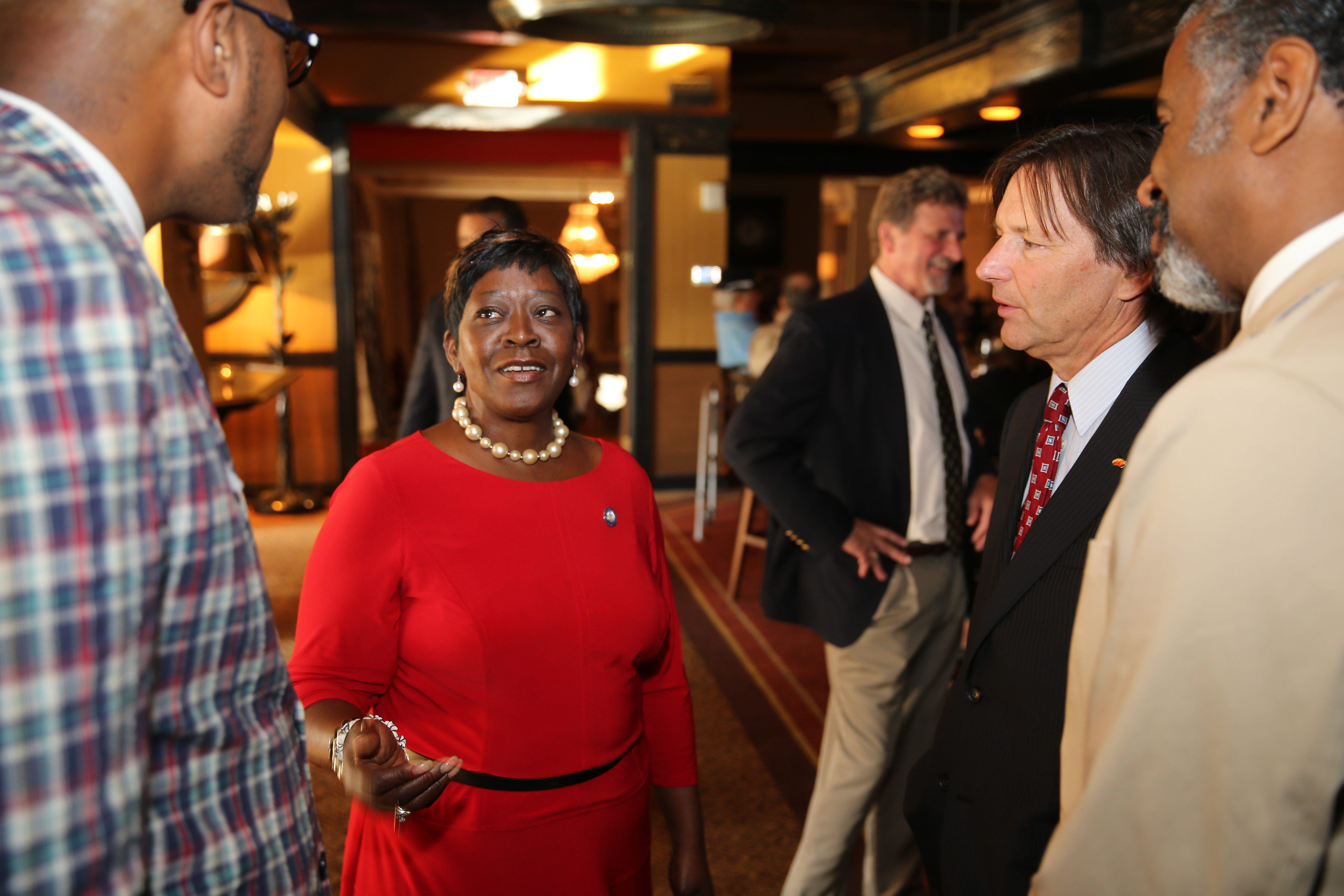 Assemblywoman Crystal Peoples-Stokes, who was elected in 2002, speaks to backers at Statler City as she faces her first test in a Democratic primary.