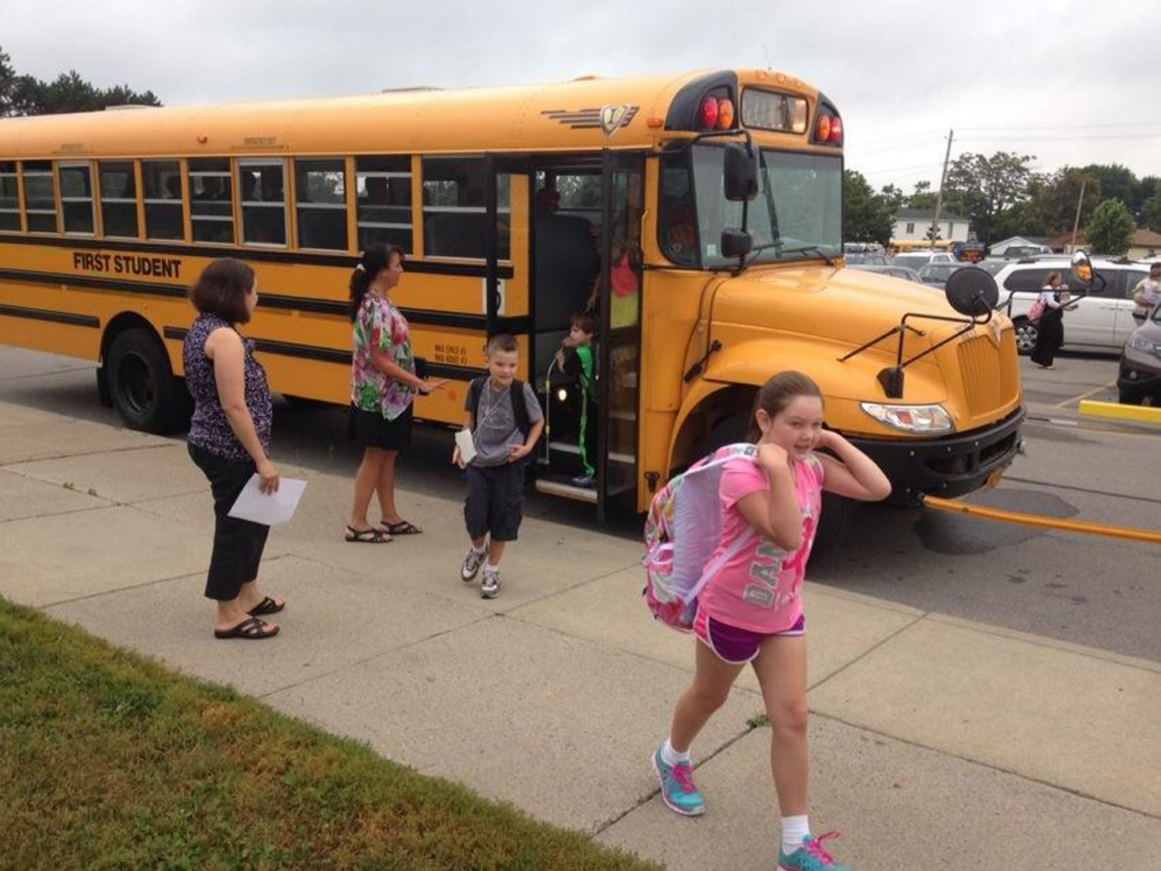 Students arrive for the first day of school today at Potters Road Elementary in West Seneca. (John Hickey/Buffalo News)