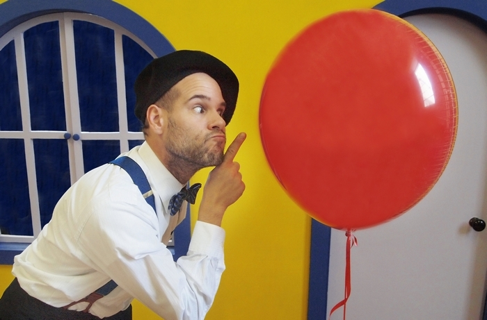 """Kurt Guba stars in Theatre of Youth's """"Balloonacy,"""" opening Saturday in the Maxine and Robert Seller Theatre in Getzville."""