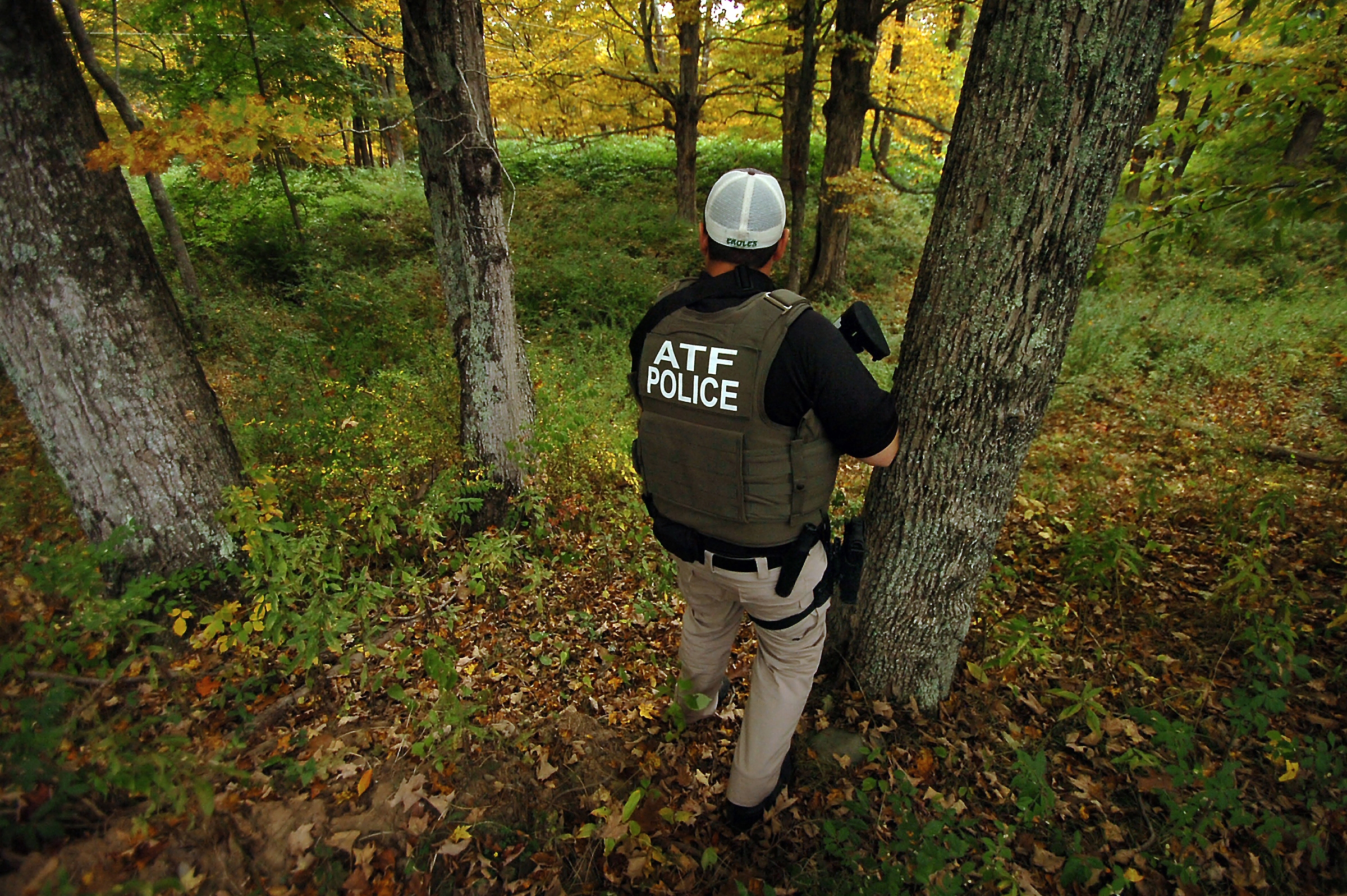 An agent from the Bureau of Alcohol, Tobacco, Firearms and Explosives searches a section of woods in Price Township, Pa., for Eric Frien, who is accused of using a sniper rifle to kill one State Police officer and wound another Sept. 12.