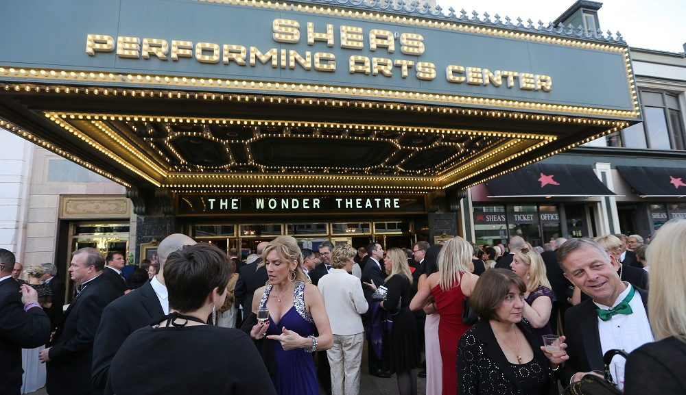 Revelers assemble outside of Shea's Performing Arts Center during Curtain Up! in 2014.  (Buffalo News file photo)