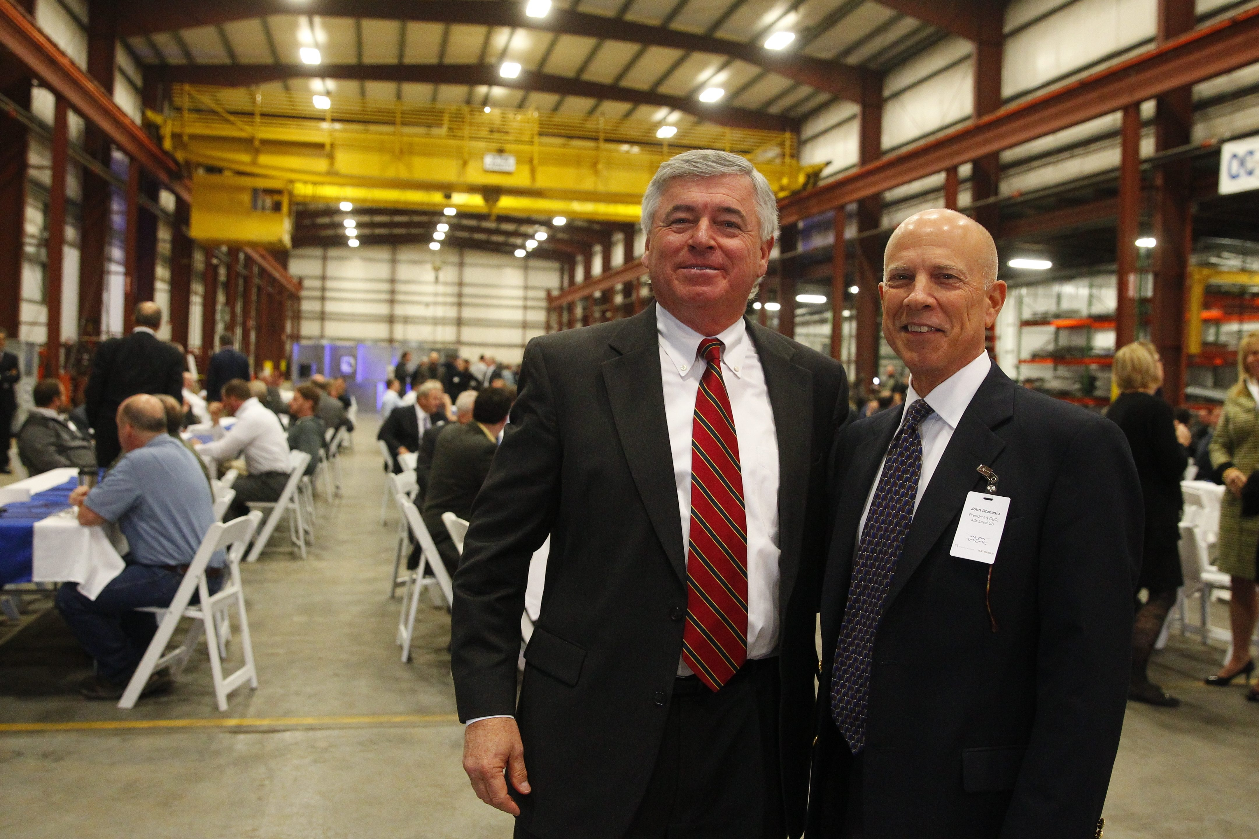 Peter Demakos,left, general manager of Niagara Blower and John Atanasio, president and CEO of Alfa Laval U.S. are bullish about the future of Niagara Blower at its new Town of Tonawanda facility.