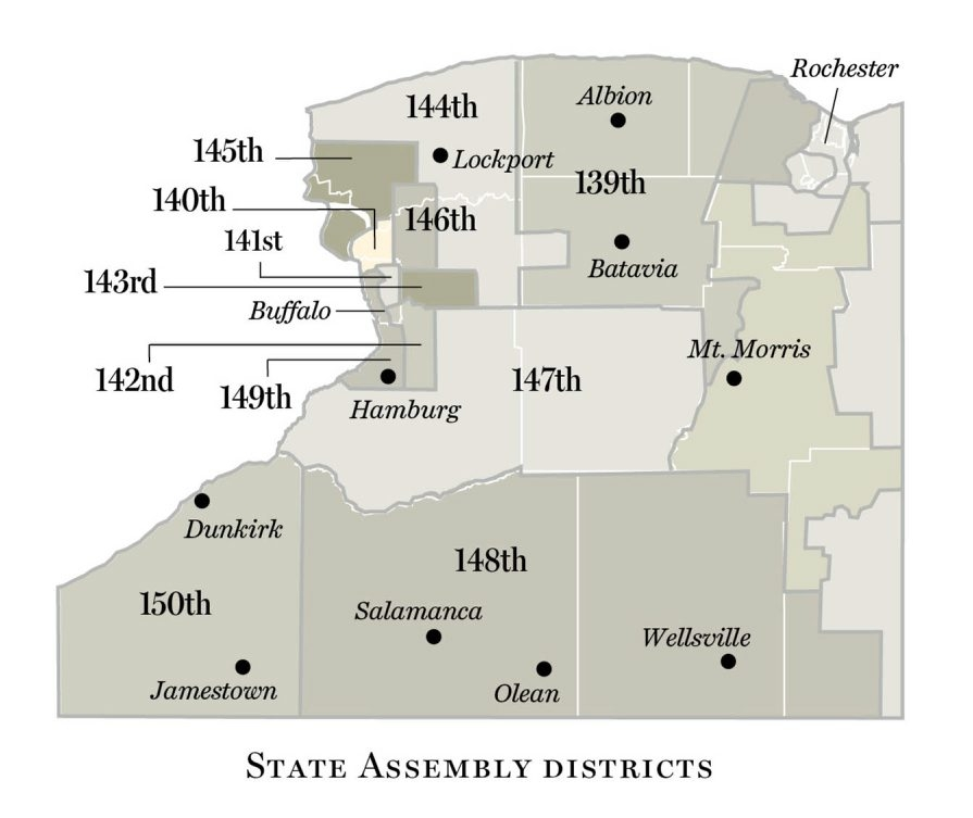 Map shows boundaries of State Assembly Districts in Western New York.