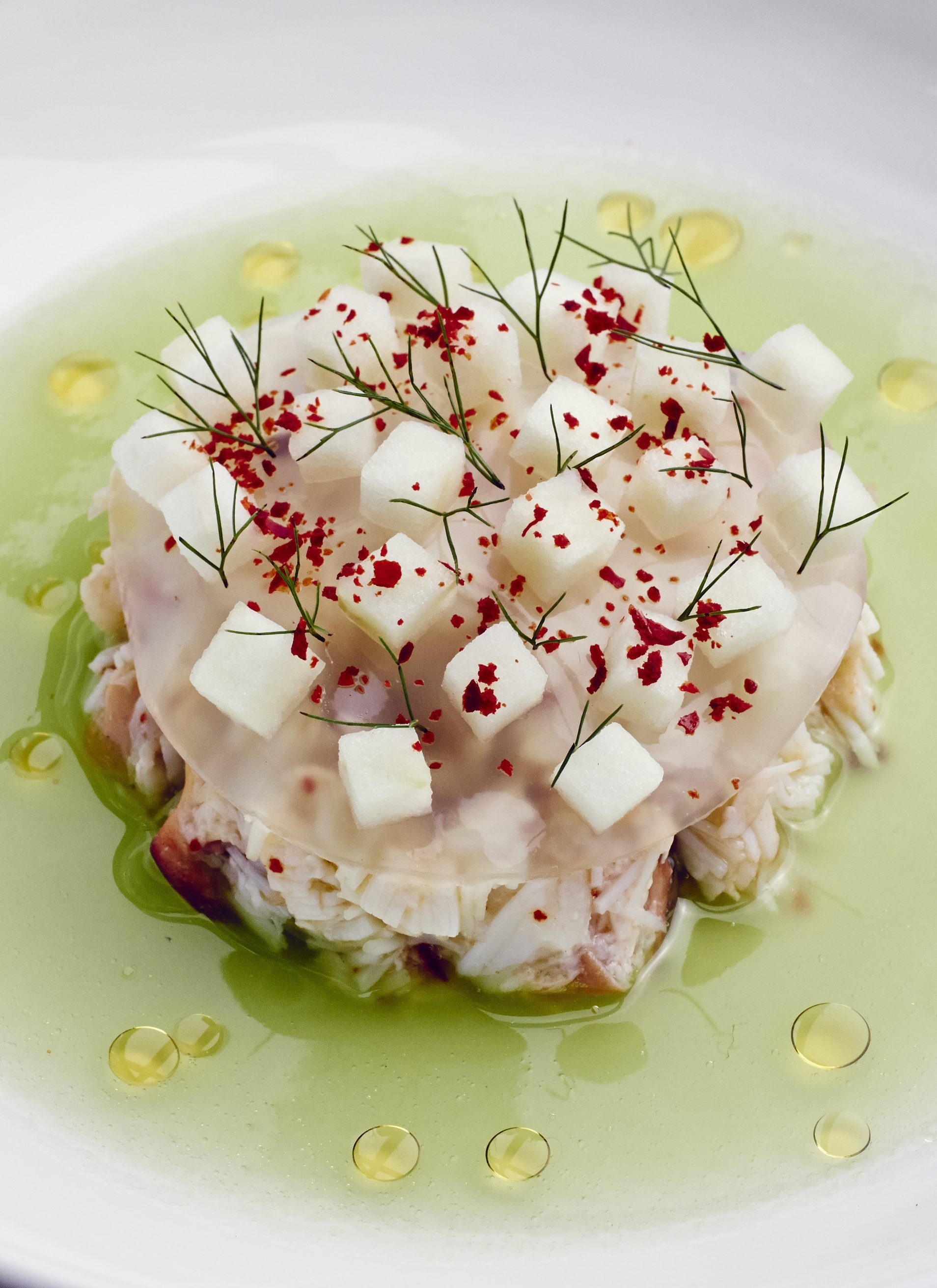 """The recipe for Stone Crab with Cucumber Juice, Fennel Jelly and Raw Apple is from """"Heritage"""" by Sean Brock."""
