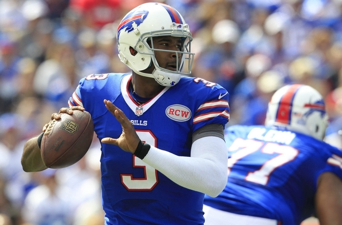 Buffalo Bills quarterback EJ Manuel looks to throw the ball against the San Diego Chargers during the first quarter at Ralph Wilson Stadium in Orchard Park on Sunday, Sept. 21, 2014.  (Harry Scull Jr./Buffalo News)