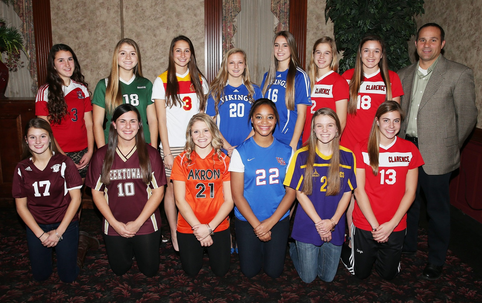 All Western NY soccer. Back row from left to right Morgan Zlockie, Ellicottville; Emma Gervase, Nardin; Marissa Birzon, Williamsville East; Marcy Barberic, Grand Island; Madisyn Pezzino, Grand Island; Shannon Carr, Clarence; Tom Furminger, Clarence head coach and coach of the year. Front row, from left to right, Lauren Testa, North Tonawanda; Megan Dulniak, Cheektowaga; Cailin Regan, Akron; Monique Green, Williamsville South; Olivia Schmidt, Holland; and Sydney Cerza, Clarence. (James P. McCoy/Buffalo News)