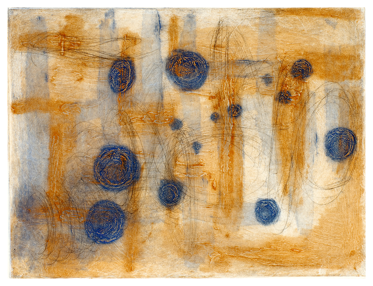 """""""Intermaze,"""" a Carborundum etching and drypoint by Catherine Shuman Miller, is on view in Betty's through March 22."""