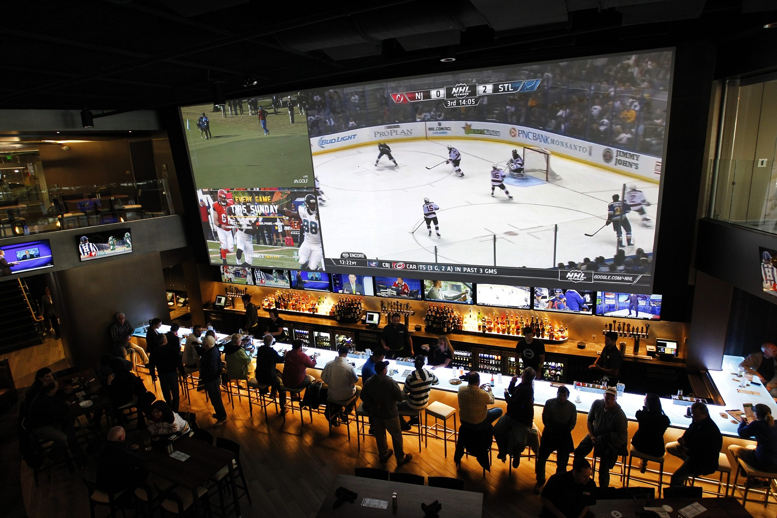 The 38-foot TV screen inside (716) is a major draw for Sabres and Bills fans. (Sharon Cantillon/Buffalo News file photo)
