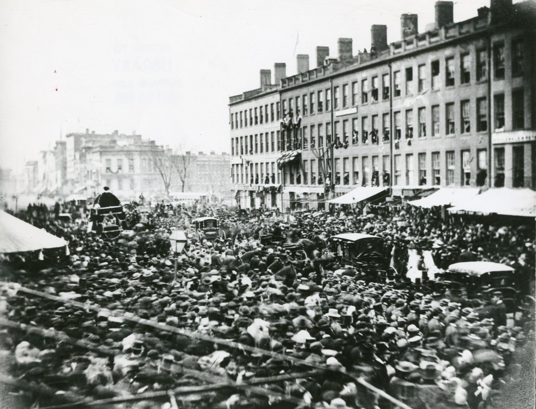 A view on Main Street, Buffalo, from April 27, 1865, shows the throng gathered around the funeral procession as Abraham Lincoln's body was taken to Springfield, Ill., for burial.