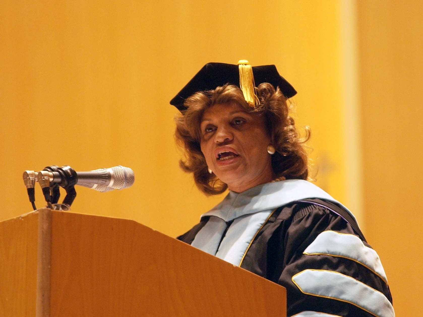 Catherine Fisher Collins, then a member of the Buffalo School Board, gives the Trocaire College commencement address at Kleinhans Music Hall in May 2005.