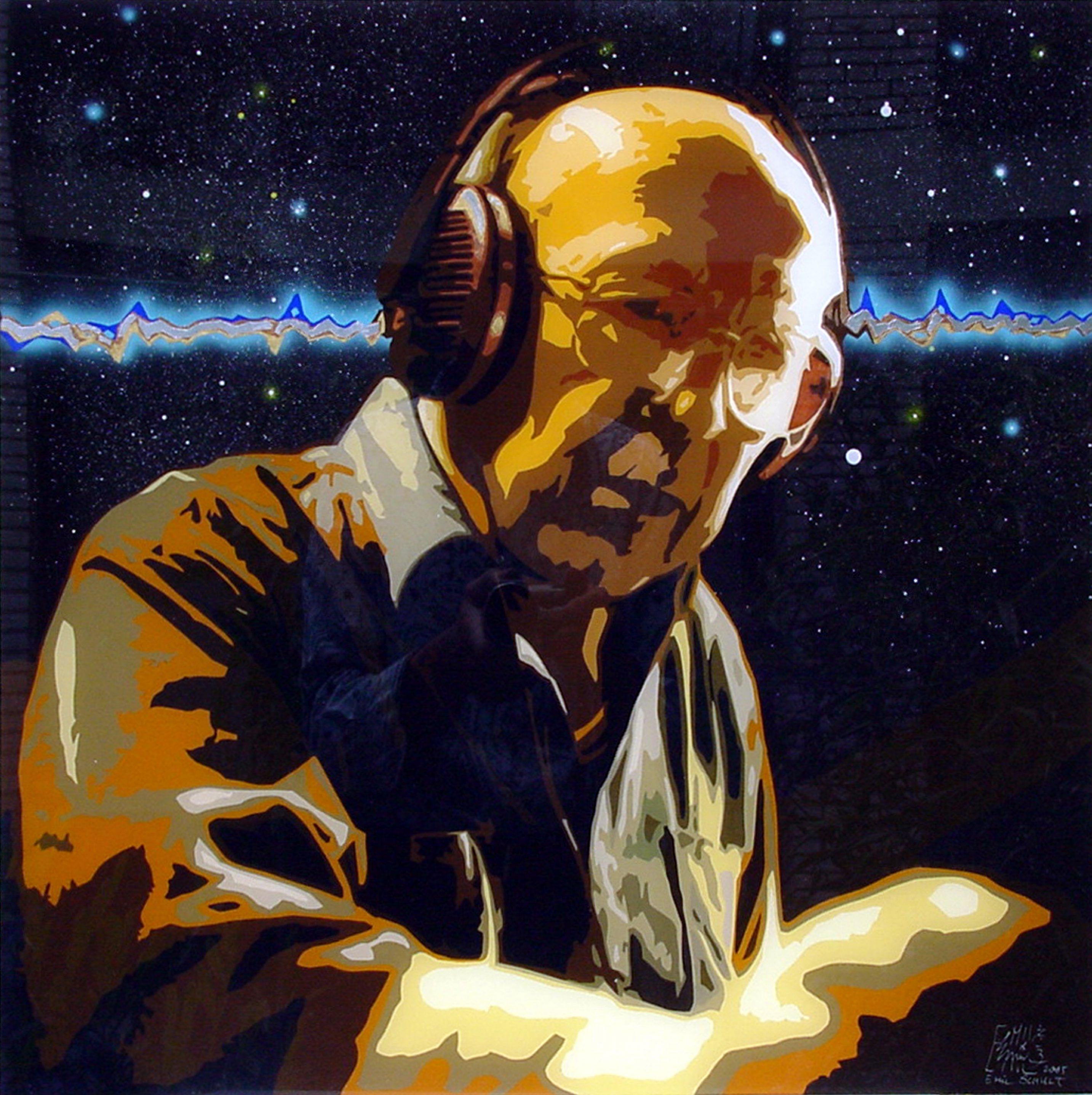 Electronic music pioneer Oskar Sala is the subject of artwork by Emil Schult.