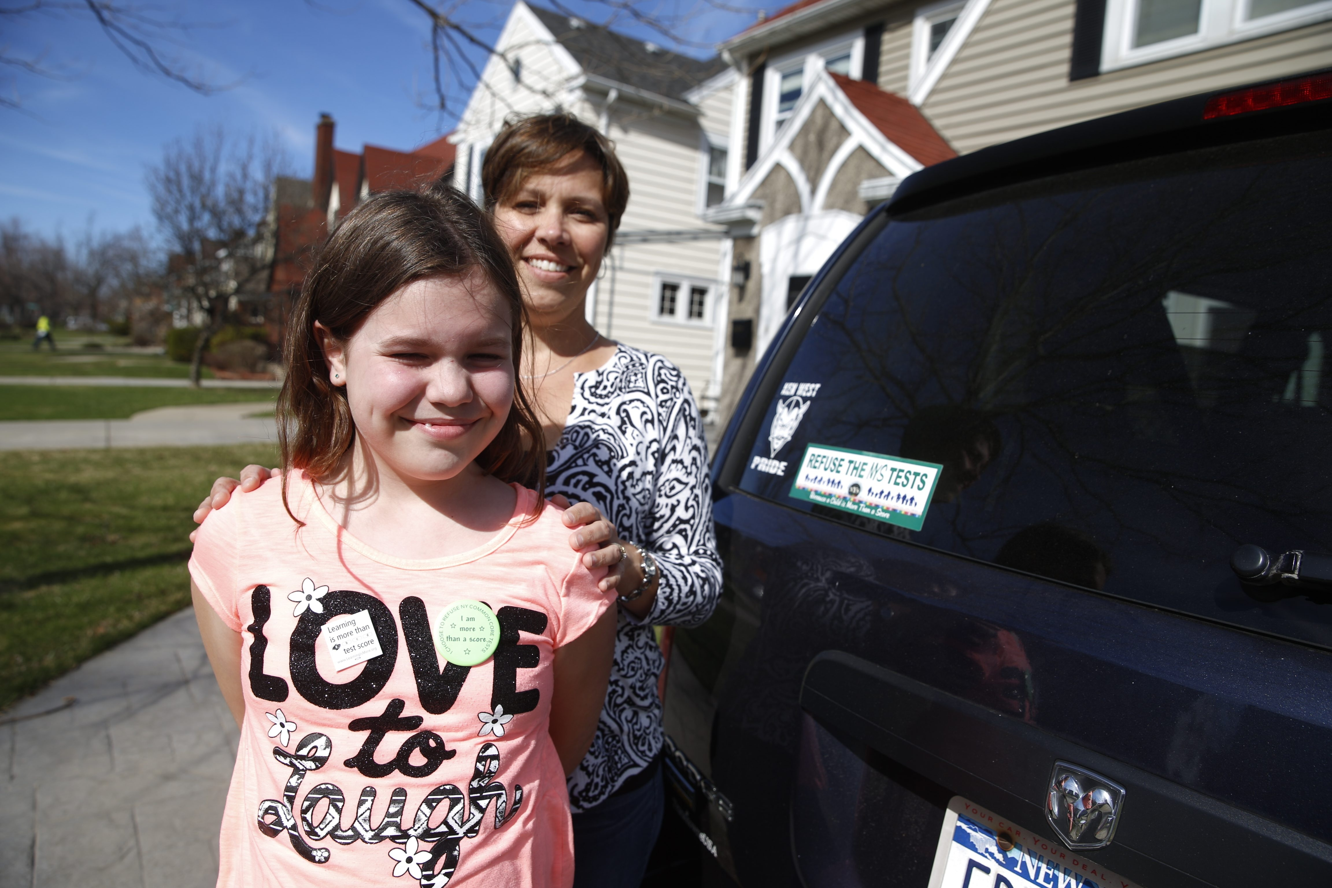 "Opting out: Jennifer Morrow had her daughter, Kelsey, 10, a fourth-grader in Kenmore, opt out of state tests because ""we want our voices to be heard."""