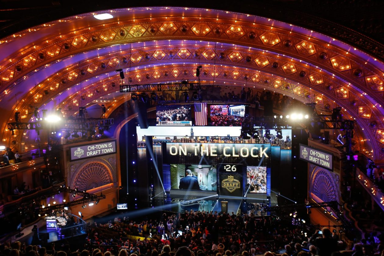 A general view prior to the start of the first round of the 2015 NFL Draft at the Auditorium Theatre of Roosevelt University in Chicago. (Getty Images)