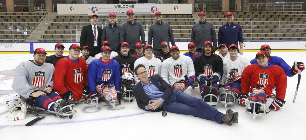 John Buccigross meets with the USA Sled Hockey Team. (Harry Scull, Jr.)