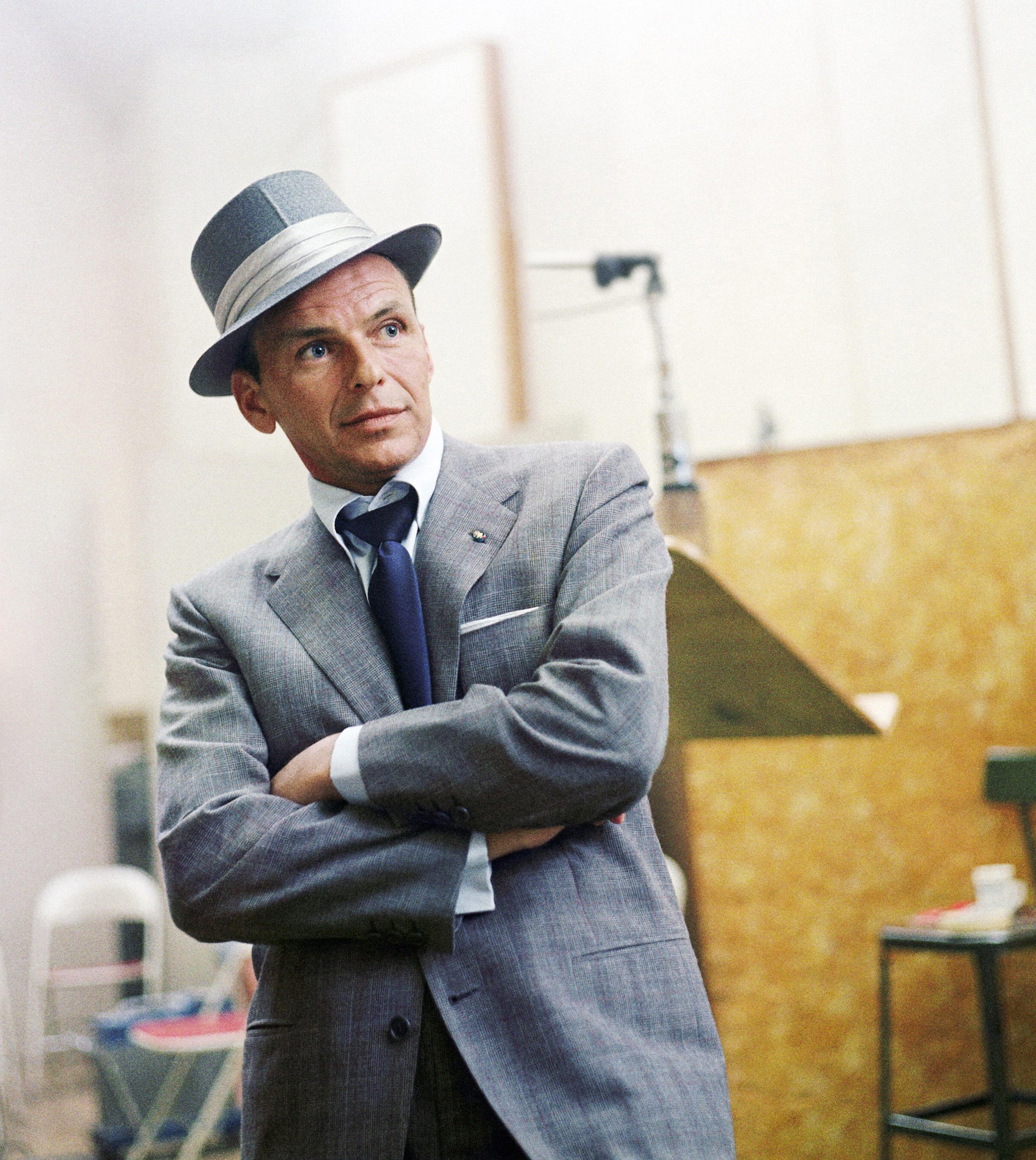 Frank Sinatra at a Capitol Records recording session in   Los Angeles, in 1954.