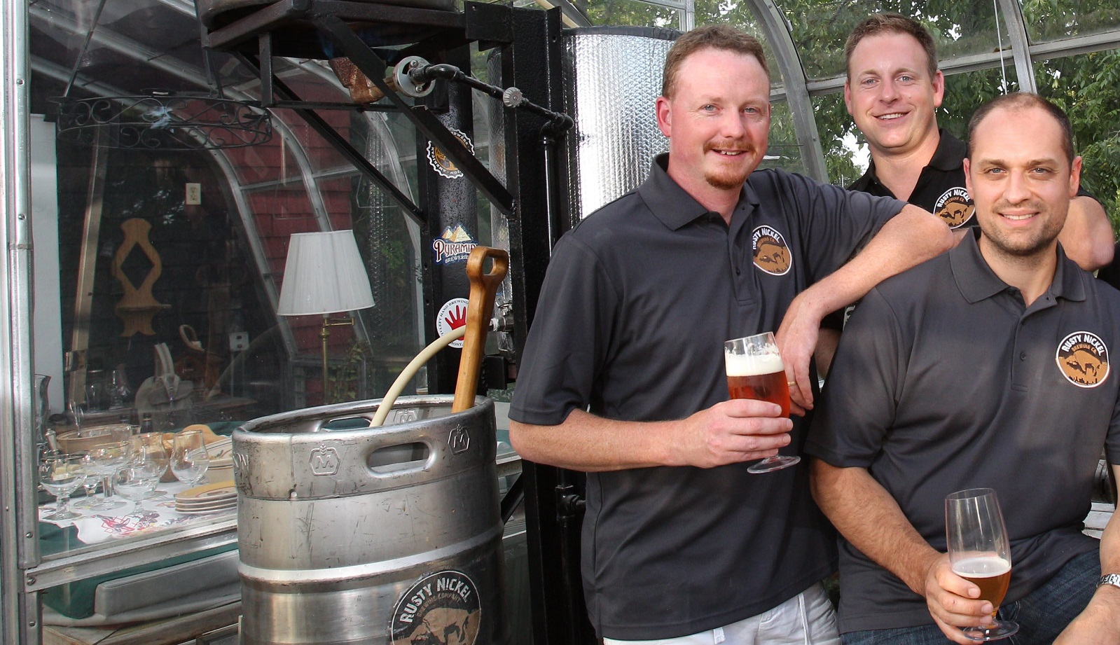 Four brewing enthusiasts have become partners in Rusty Nickel Brewing Co.  From left,  Dave Johnson, Jason Haven, Scott Fiege and Jim Ruppert.